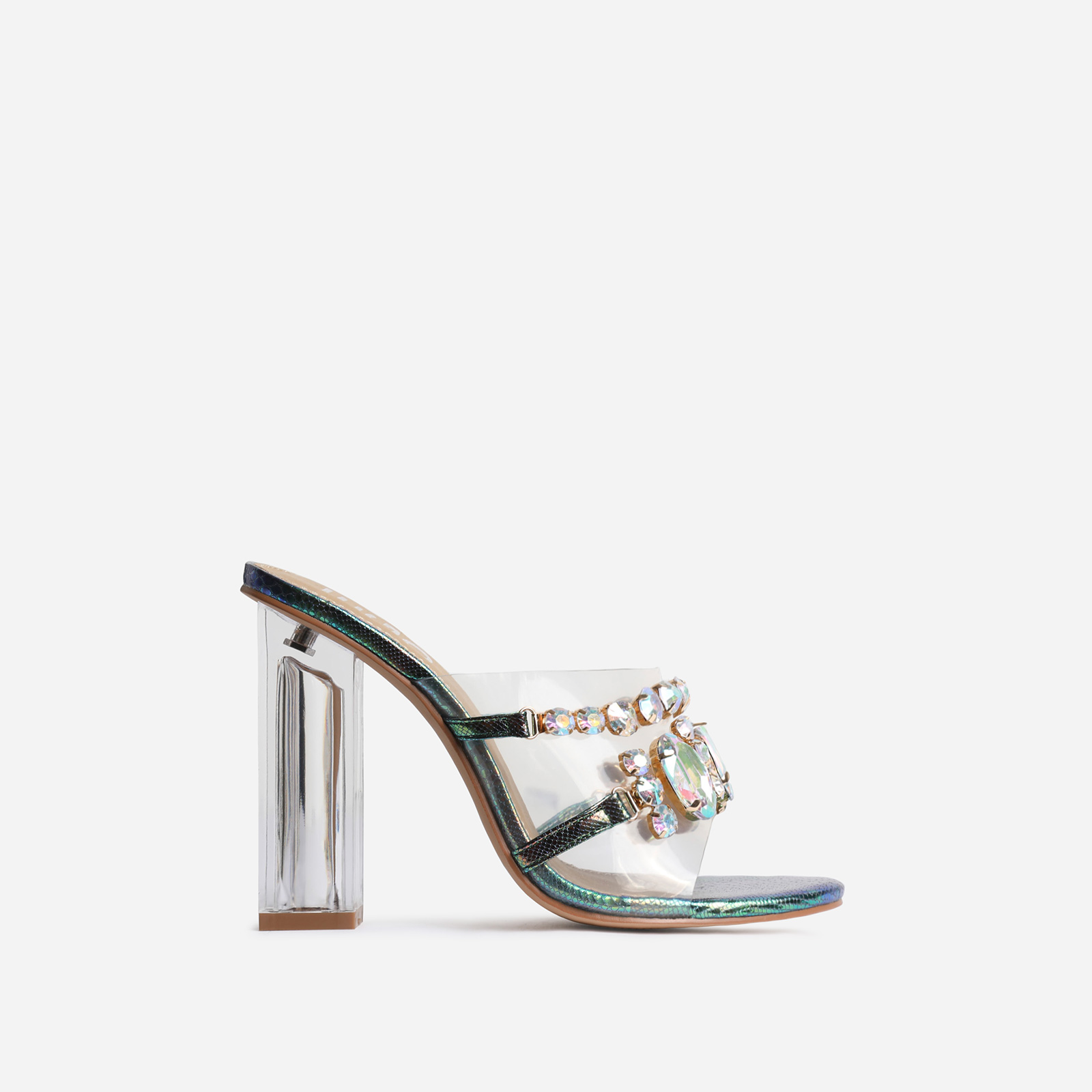 Frost Gem Embellished Perspex Peep Toe Block Heel Mule In Green Snake Print Faux Leather