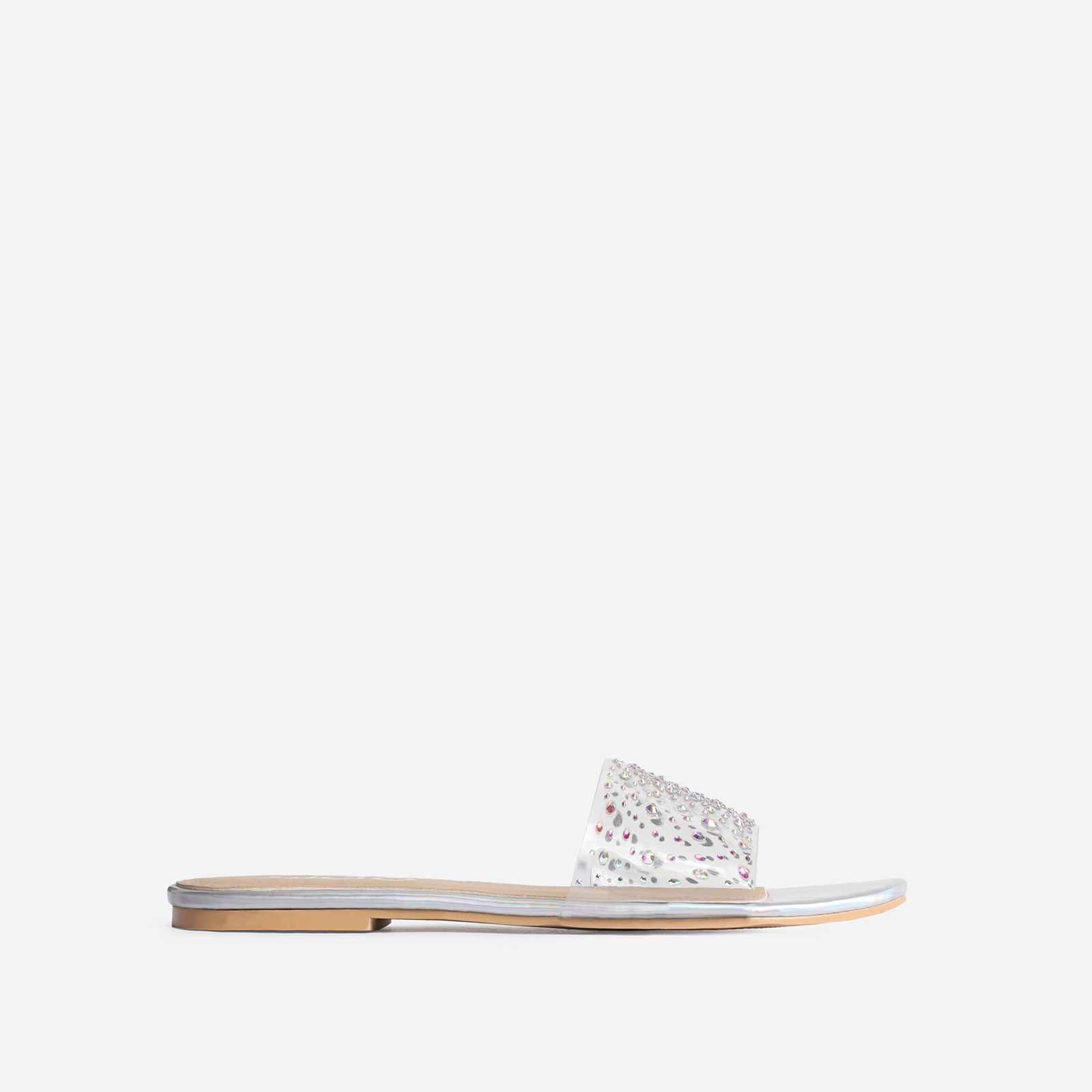 Stunning Diamante Detail Clear Perspex Flat Sandal In Silver Holographic Faux Leather