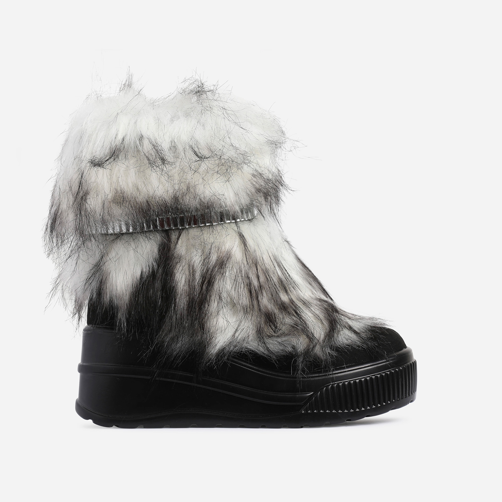 Money Diamante Detail Fluffy Ankle Biker Boot In Black