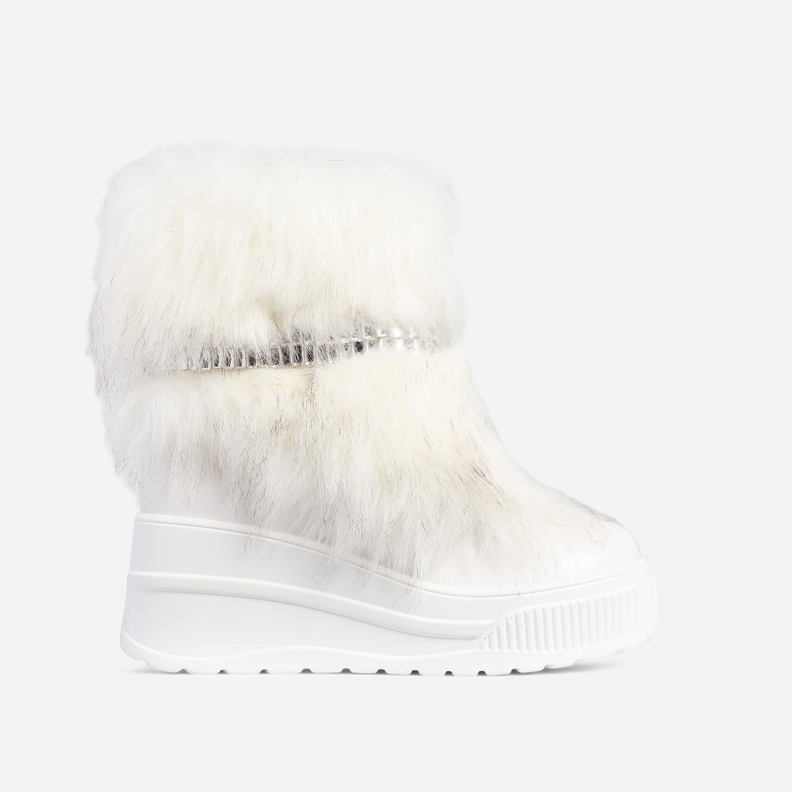Money Diamante Detail Fluffy Ankle Biker Boot In White