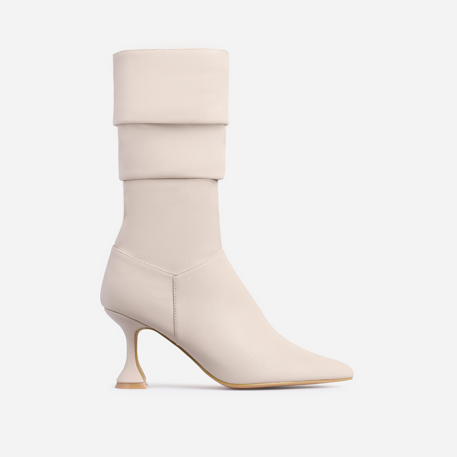 Collab Pyramid Heel Slouched Ankle Boot In Nude Faux Leather