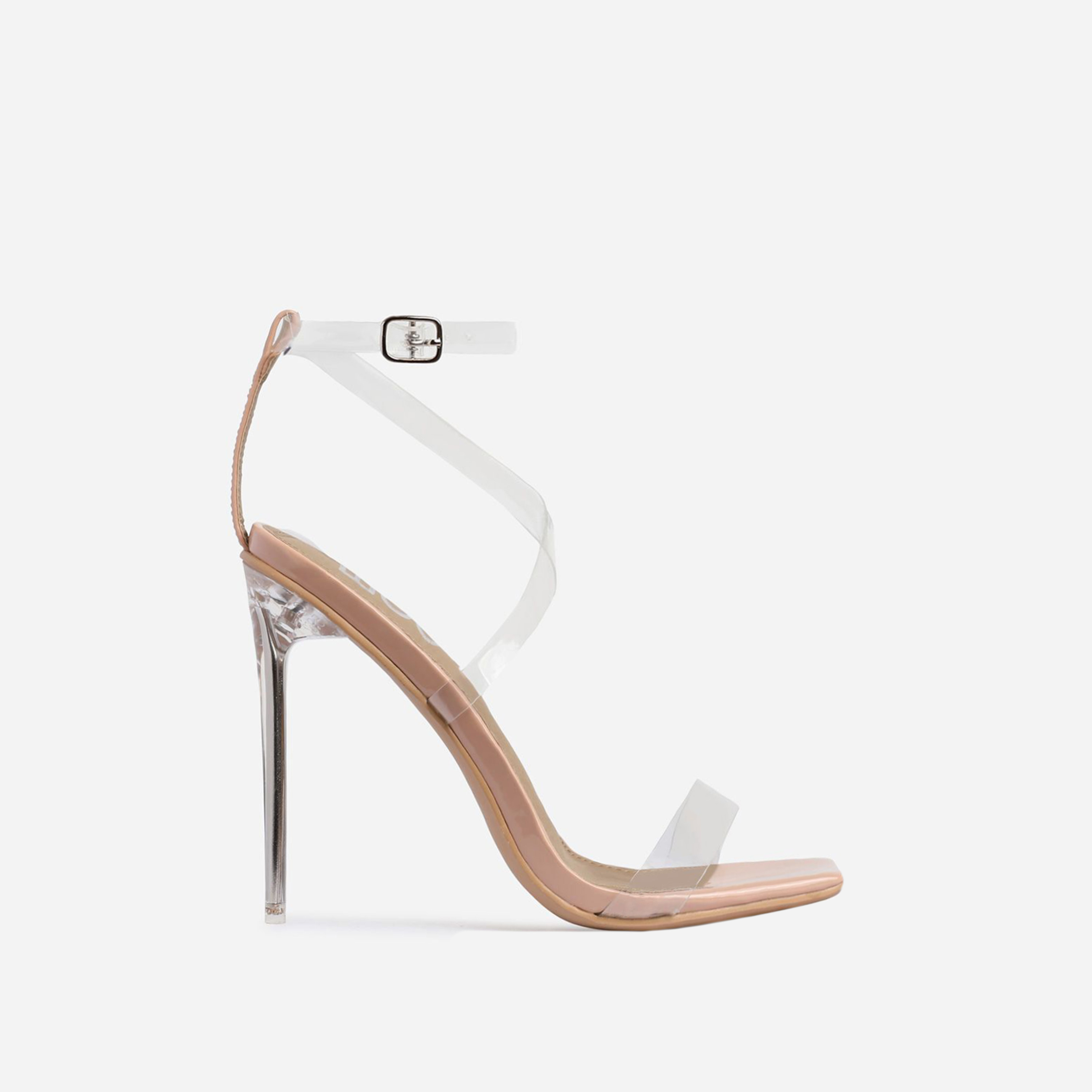 Lance Square Toe Barely There Perspex Heel In Nude Patent