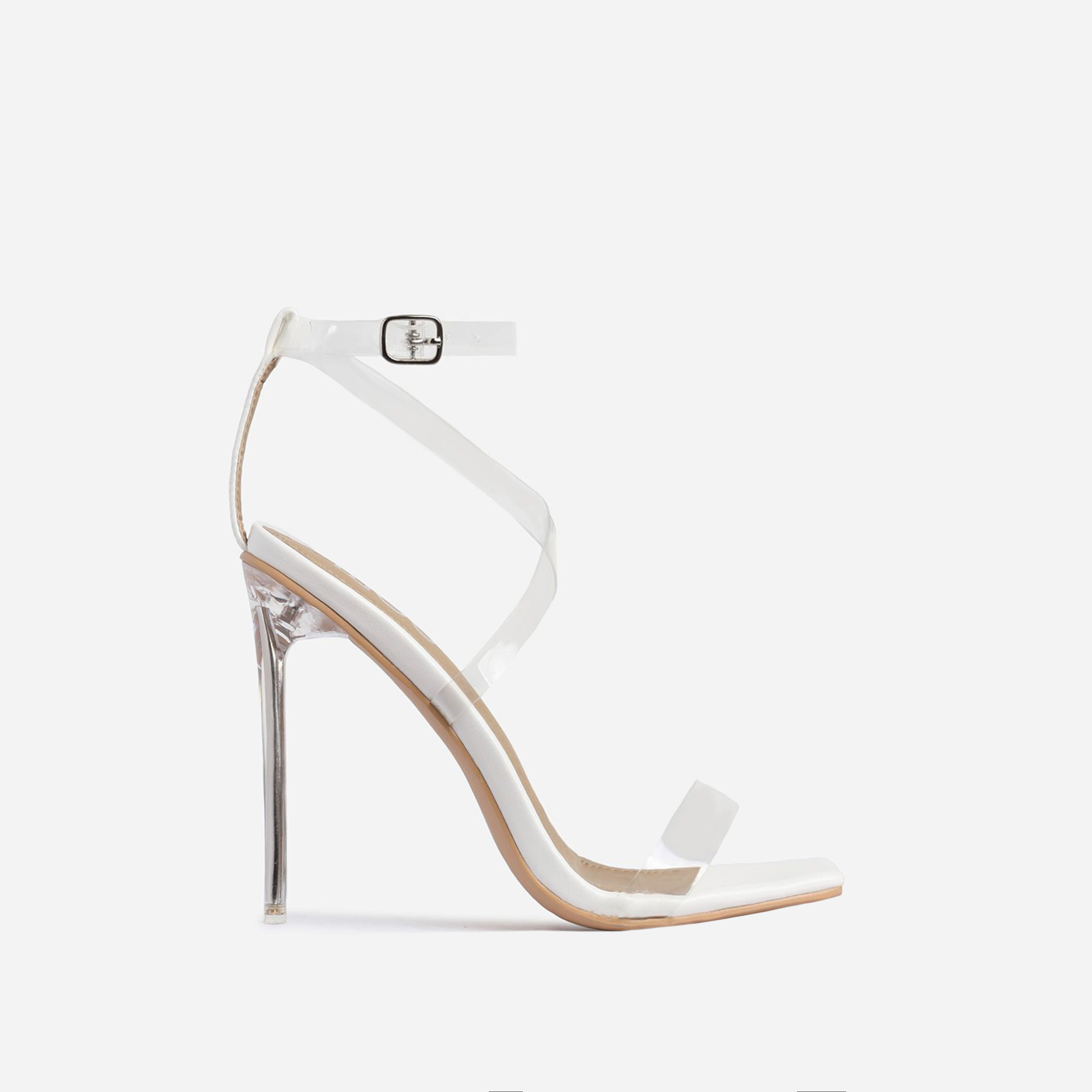 Lance Square Toe Barely There Perspex Heel In White Faux Leather