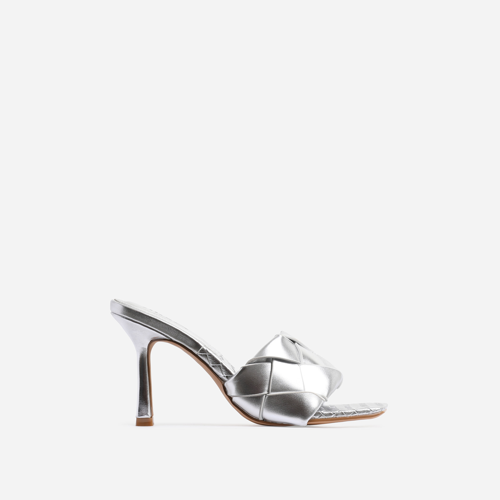 Turntup Woven Square Peep Toe Mule In Metallic Silver Faux Leather