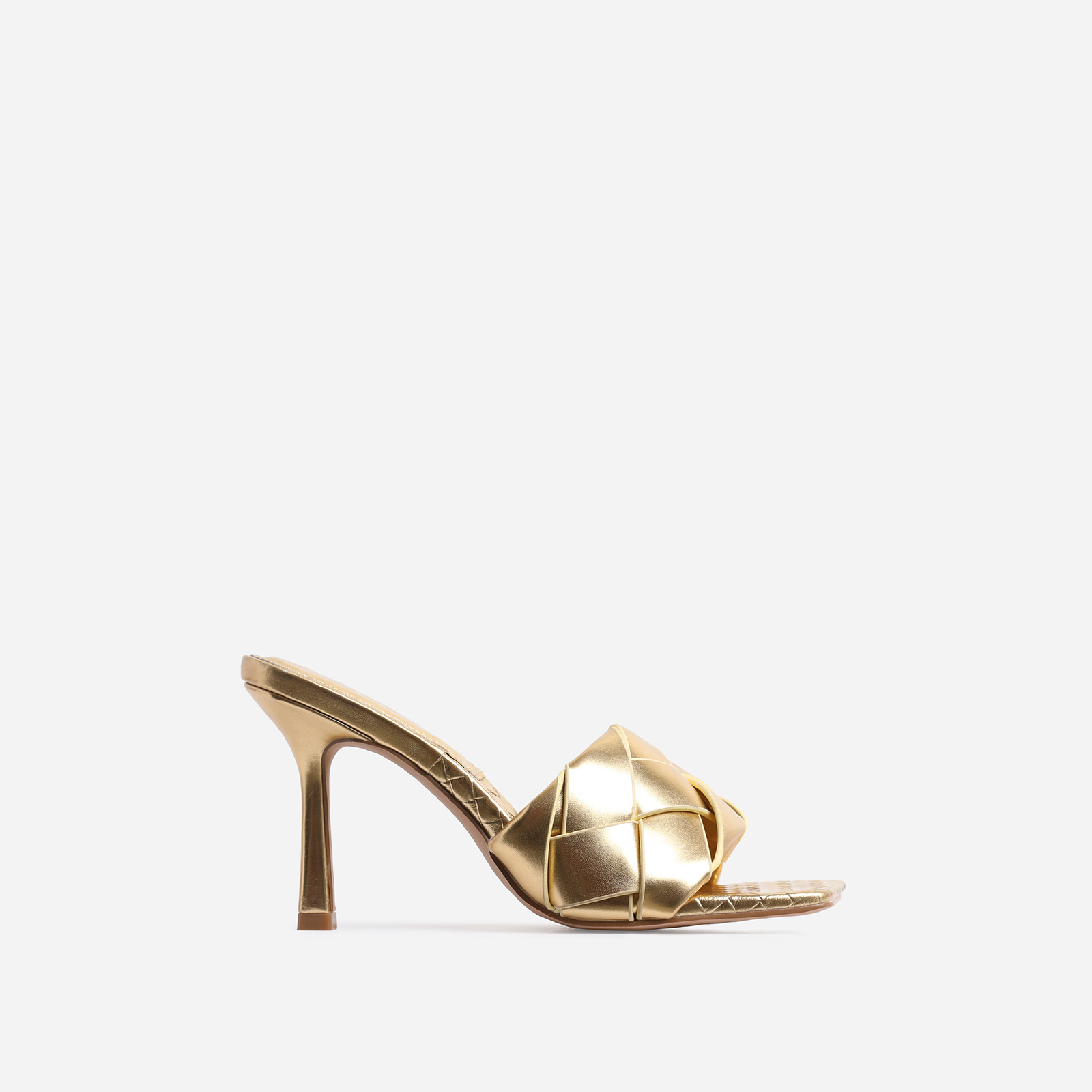 Turntup Woven Square Peep Toe Mule In Metallic Gold Faux Leather