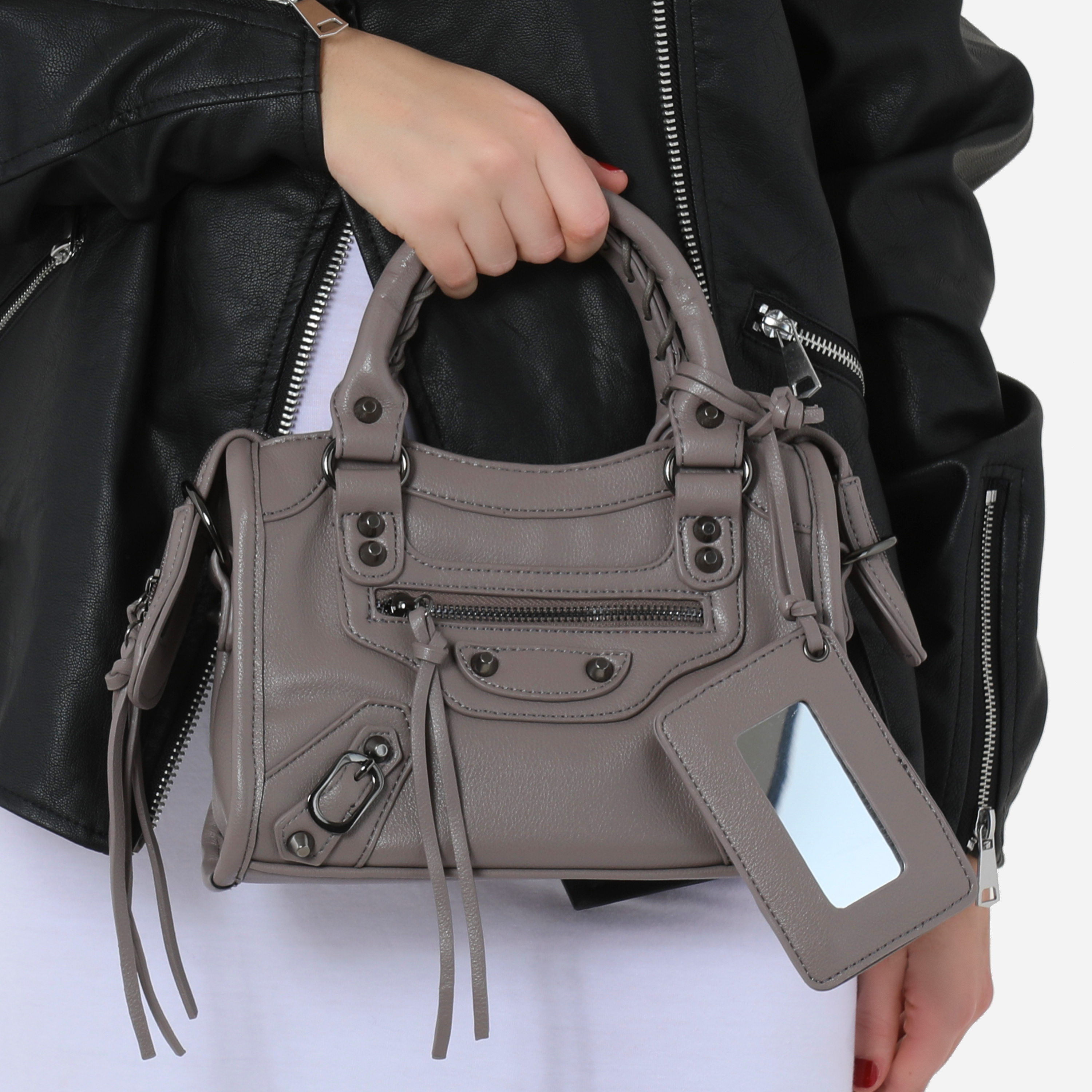 Buckle Detail Mini City Bag In Taupe Faux Leather