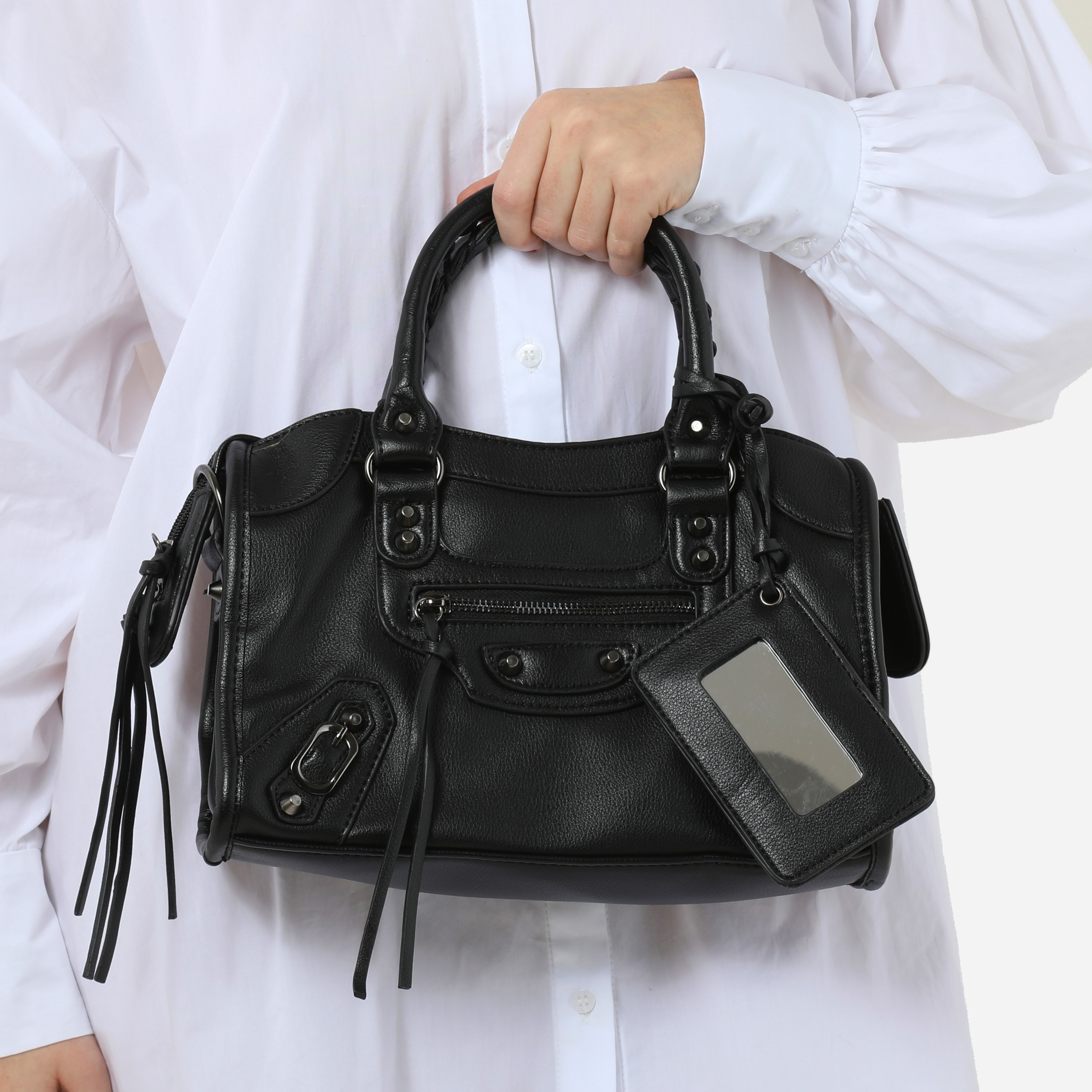 Buckle Detail City Bag In Black Fuax Leather