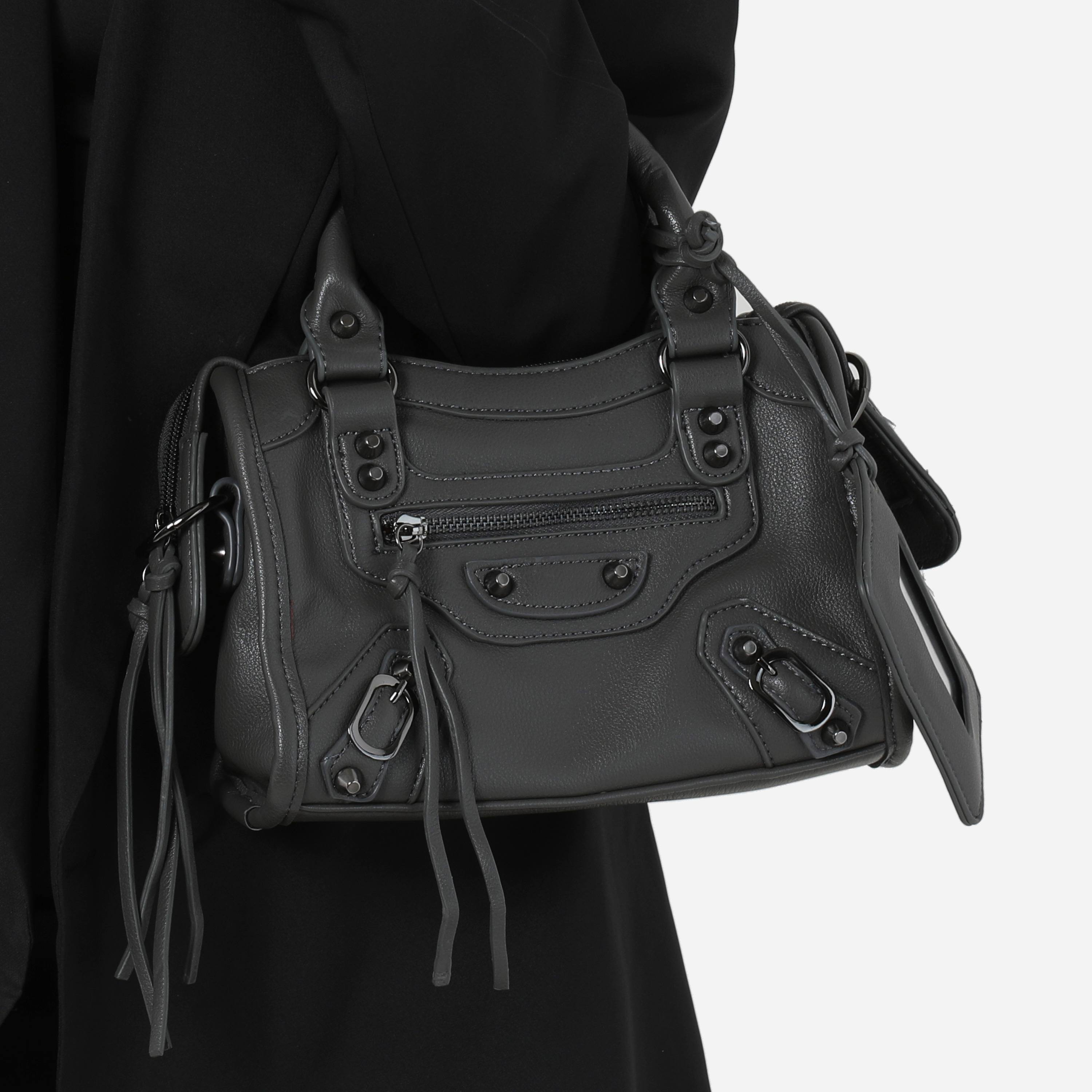 Buckle Detail Mini City Bag In Grey Faux Leather