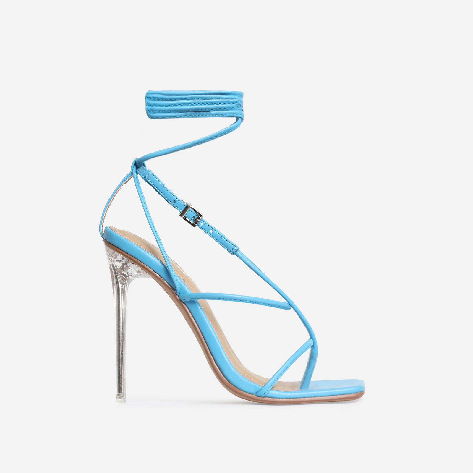True Square Toe Lace Up Perspex Heel In Blue Faux Leather