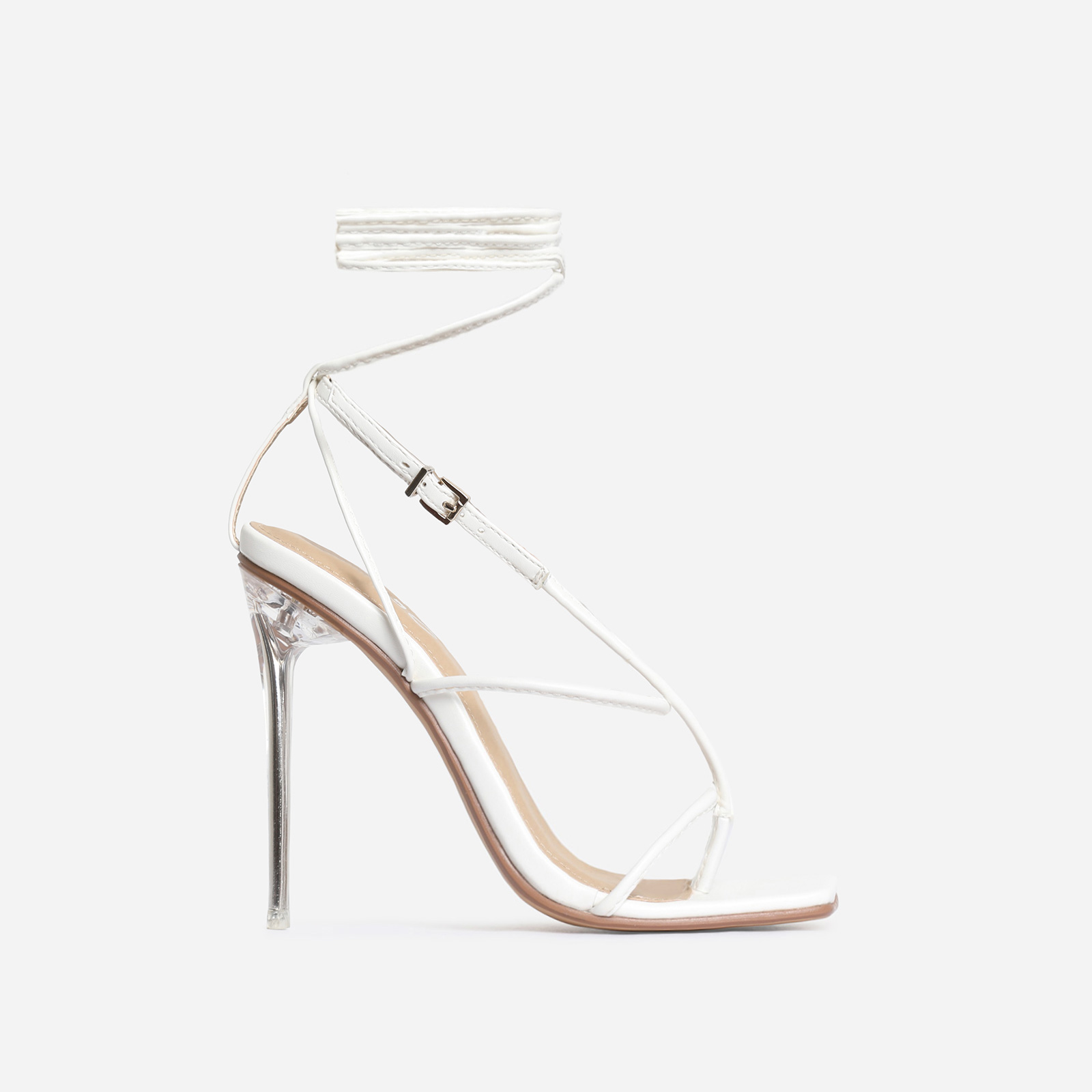 True Square Toe Lace Up Perspex Heel In White Faux Leather