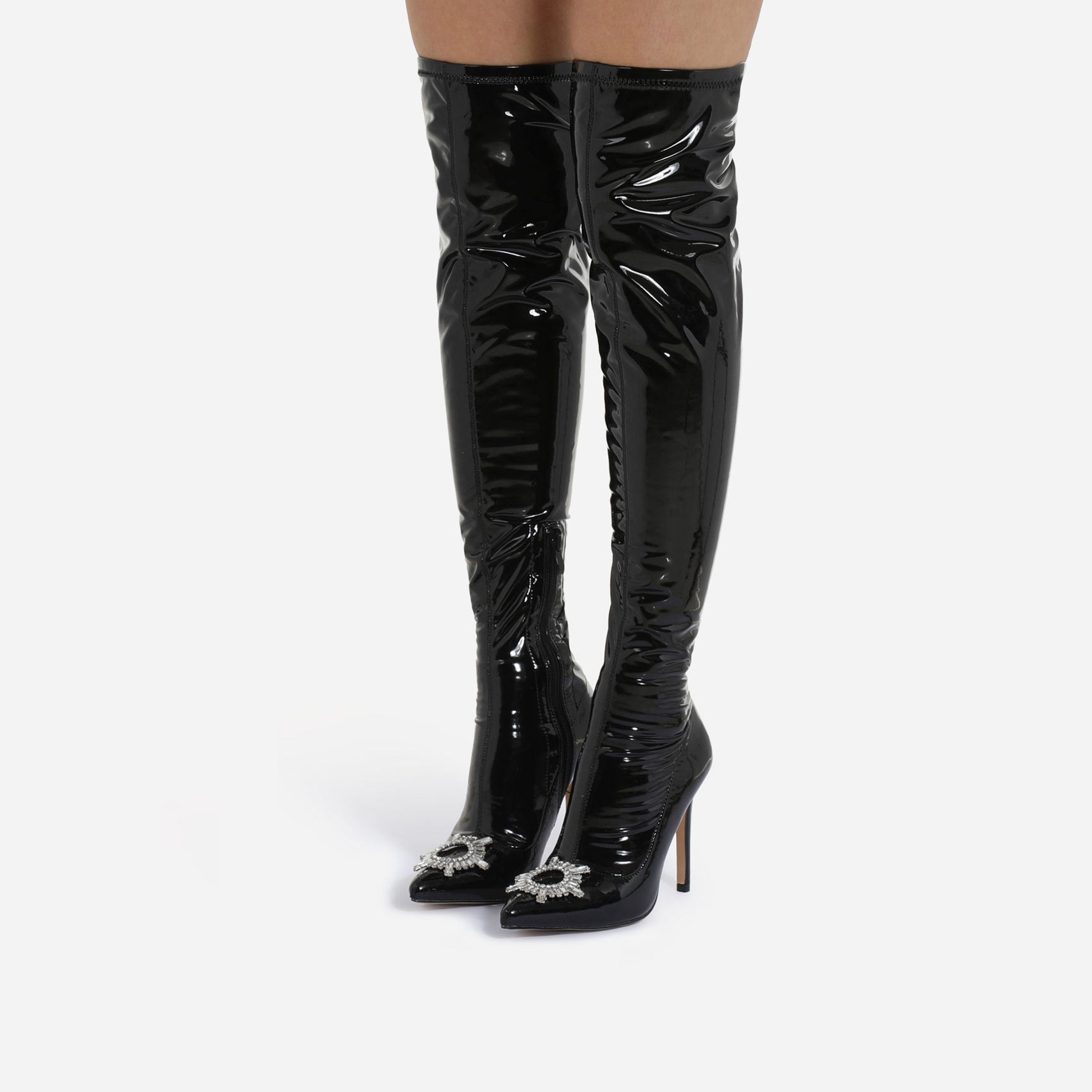 Posy Diamante Detail Over The Knee Thigh High Long Boot In Black Patent