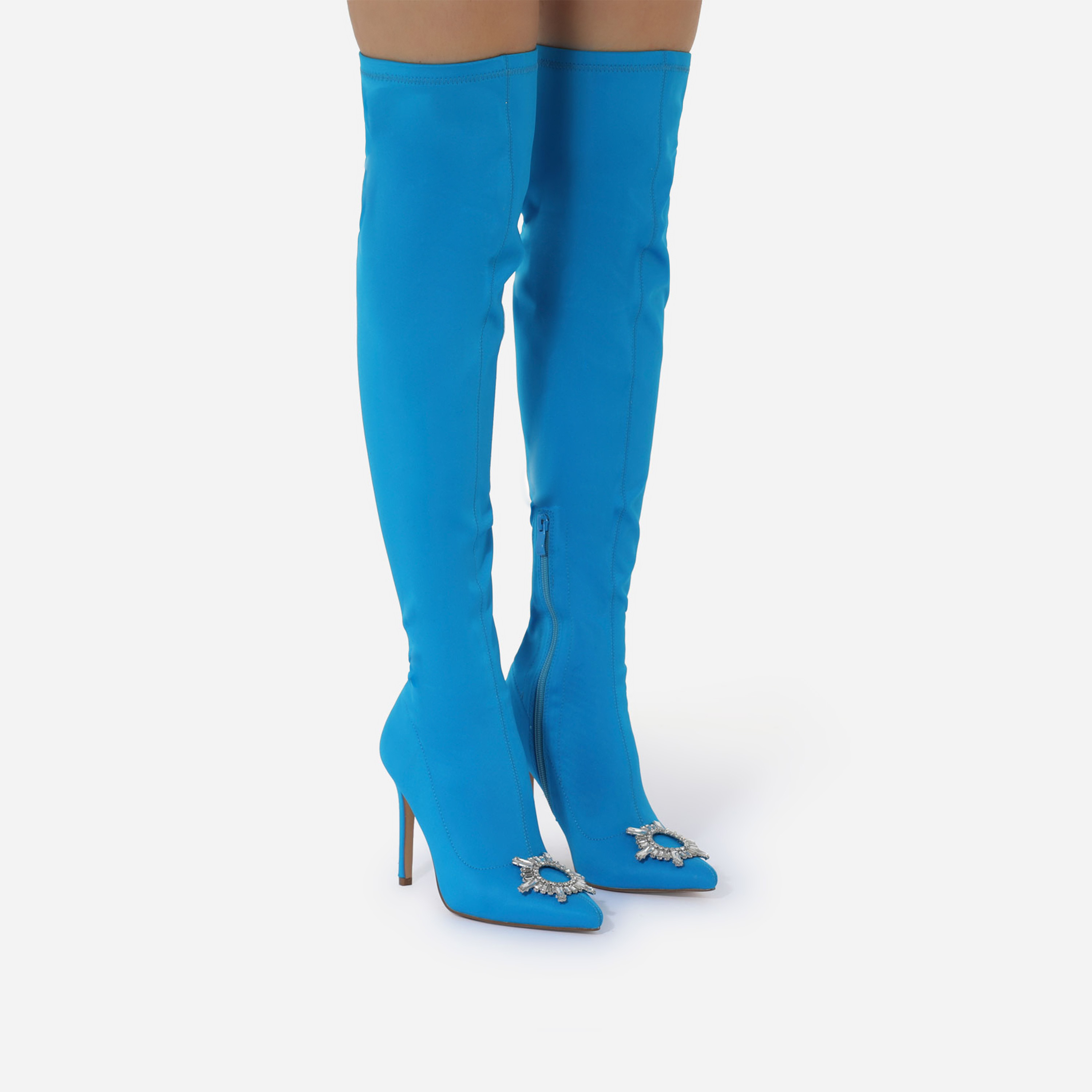 Posy Diamante Detail Over The Knee Thigh High Long Boot In Blue Lycra