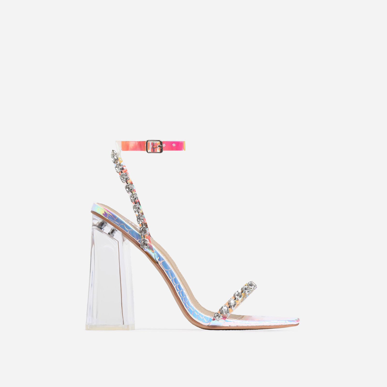 Rally Diamante Detail Flared Perspex Block Heel In Silver Snake Print Faux Leather