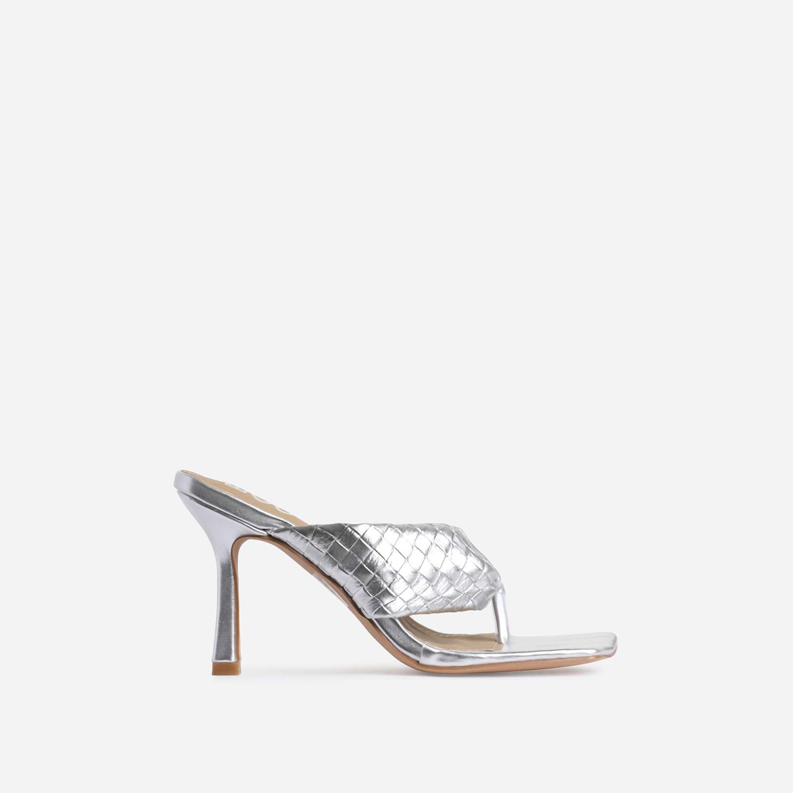 Brave Braided Detail Square Kitten Toe Heel Mule In Metallic Silver Faux Leather
