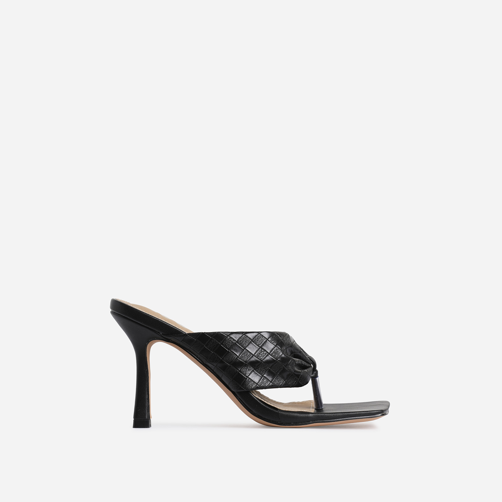 Brave Braided Detail Square Kitten Toe Heel Mule In Black Faux Leather