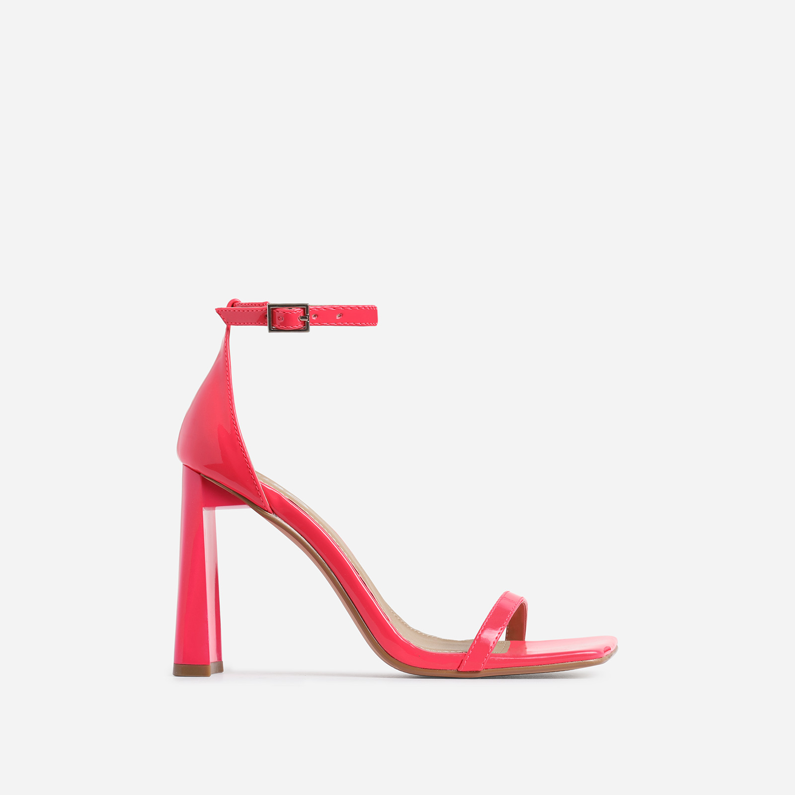 Ace Square Toe Flared Heel In Pink Patent