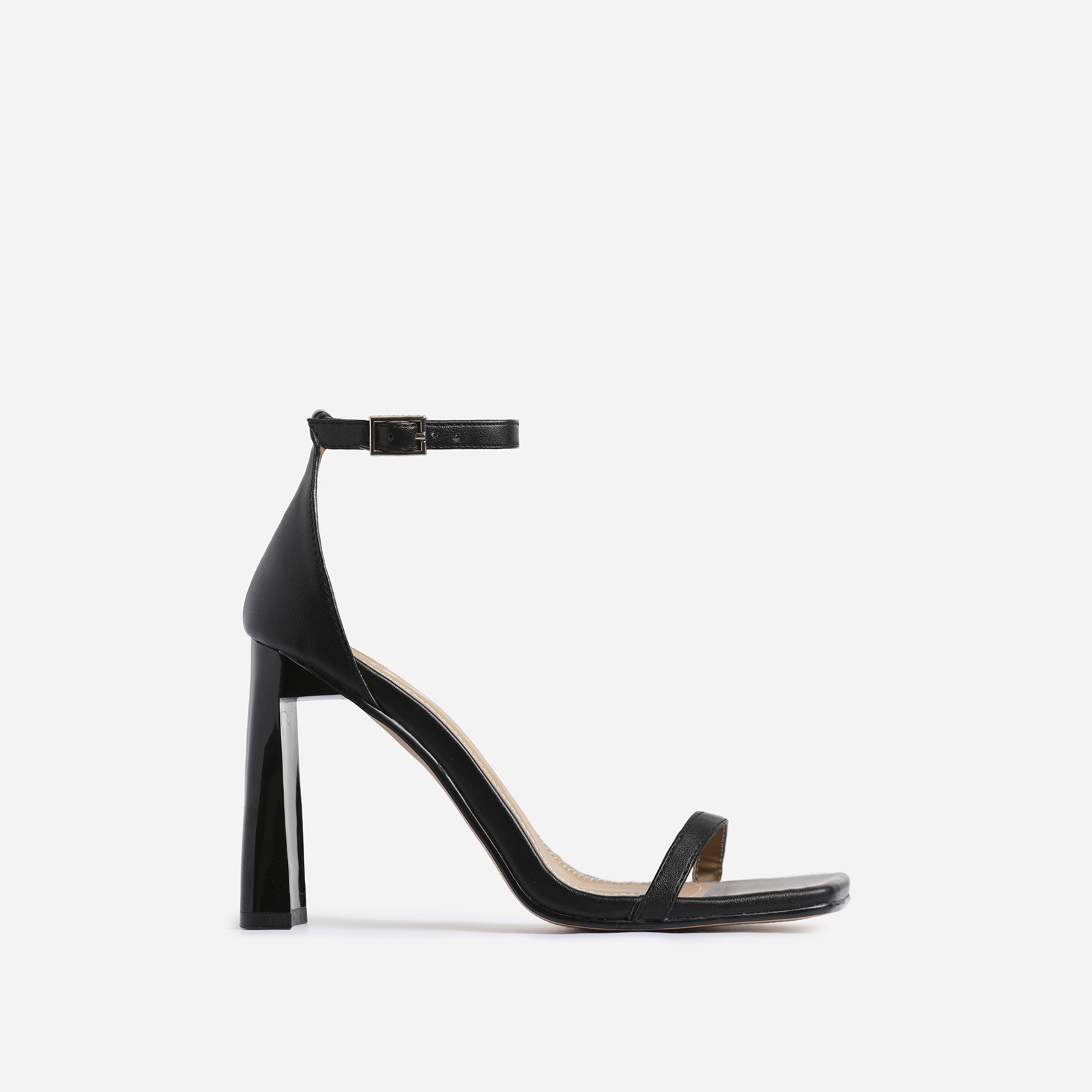 Ace Square Toe Flared Heel In Black Faux Leather