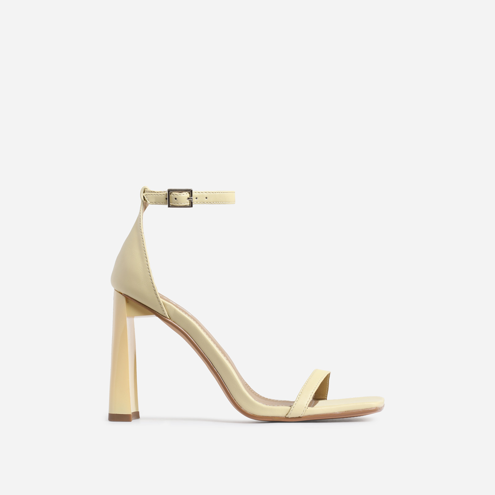Ace Square Toe Flared Heel In Lemon Yellow Faux Leather