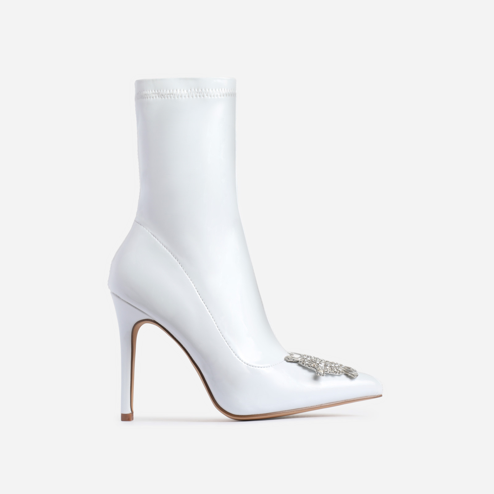 Starlight Diamante Detail Ankle Boot In White Patent