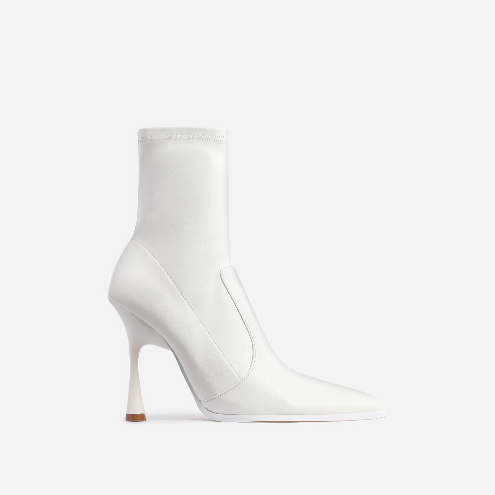 Aspen Curved Heel Ankle Sock Boot In White Faux Leather
