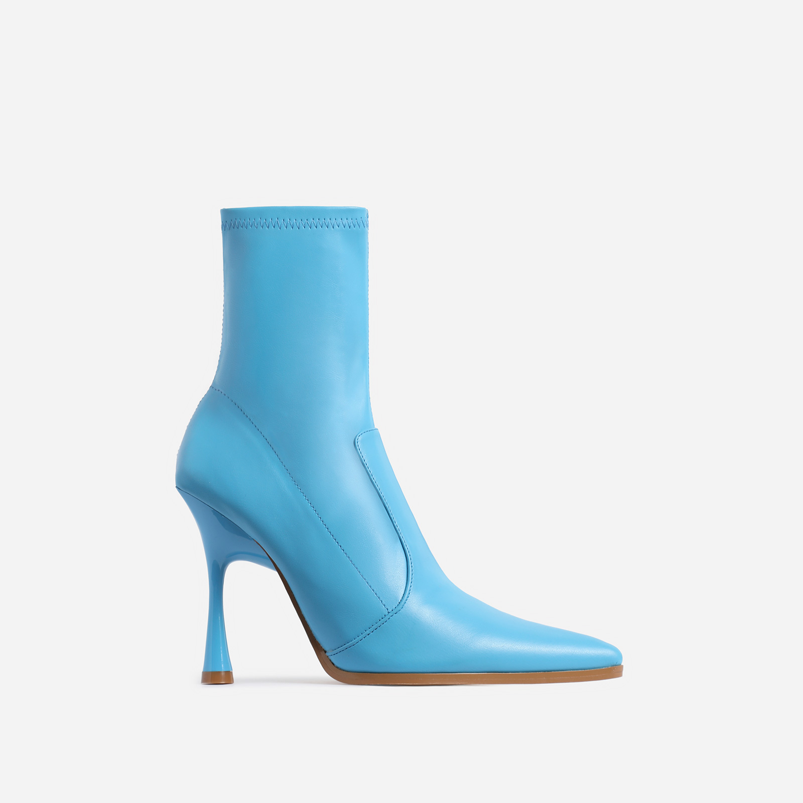 Aspen Curved Heel Ankle Sock Boot In Blue Faux Leather