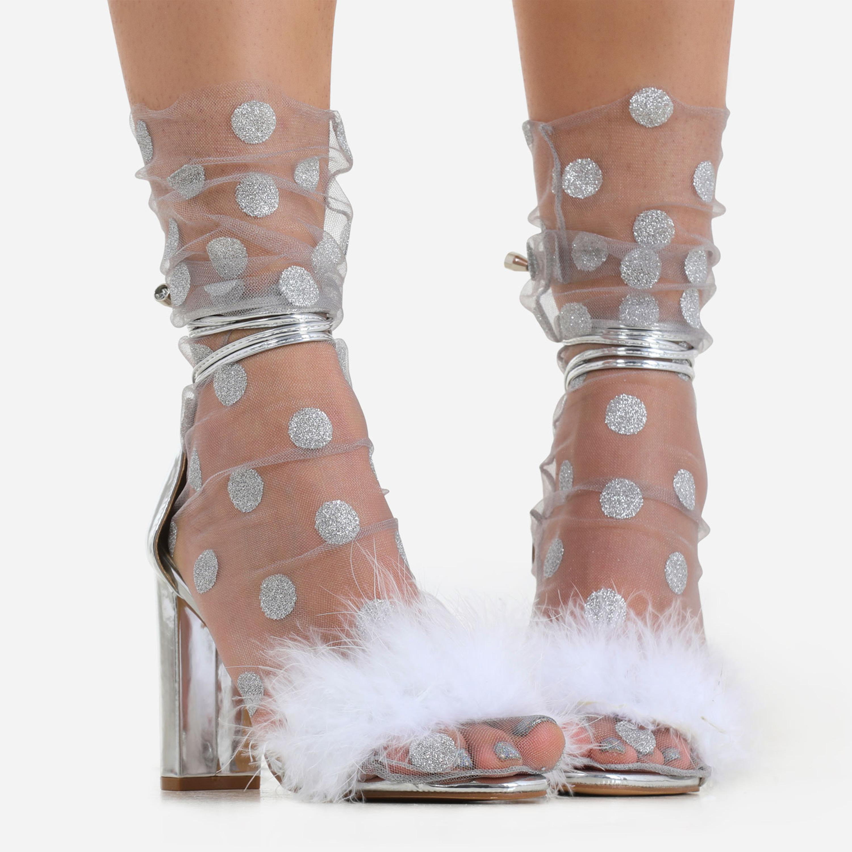 Polka Dot Socks In Grey Mesh