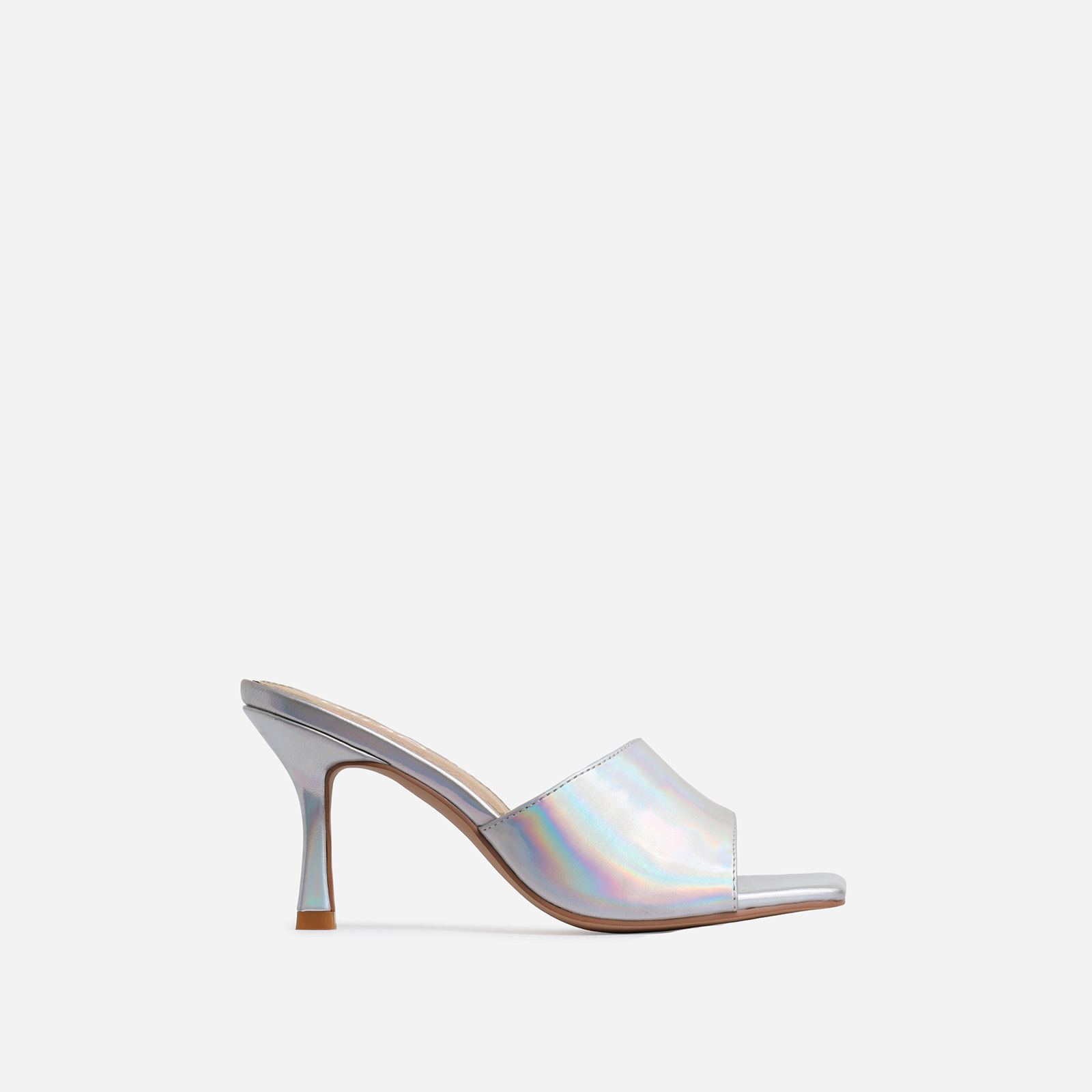 Hilton Square Peep Toe Kitten Heel Mule In Silver Holographic Faux Leather