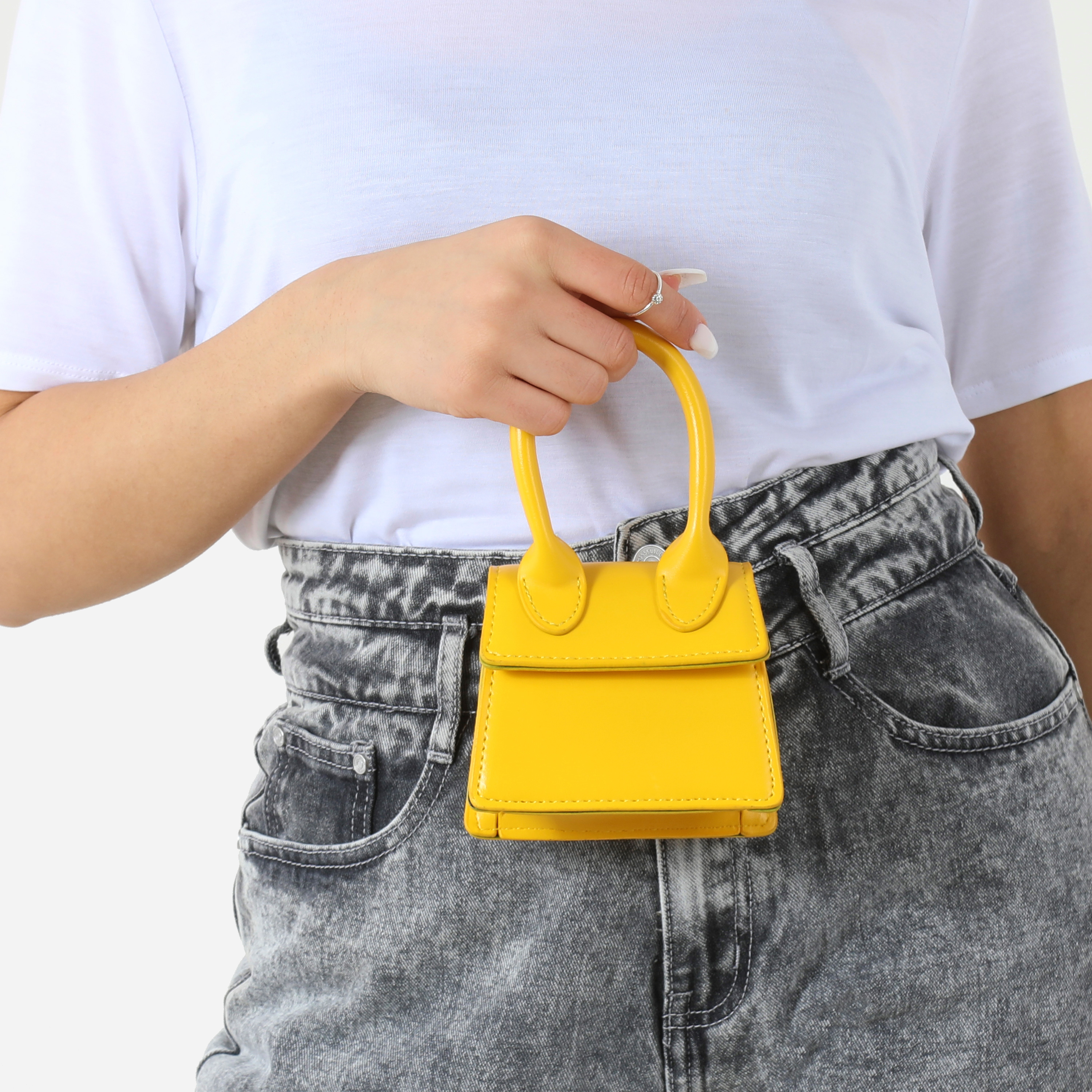 Super Mini Grab Bag In Yellow Faux Leather