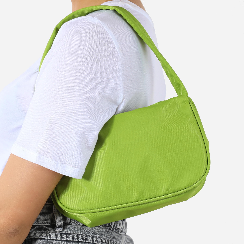 Baguette Shoulder Bag In Lime Green Nylon