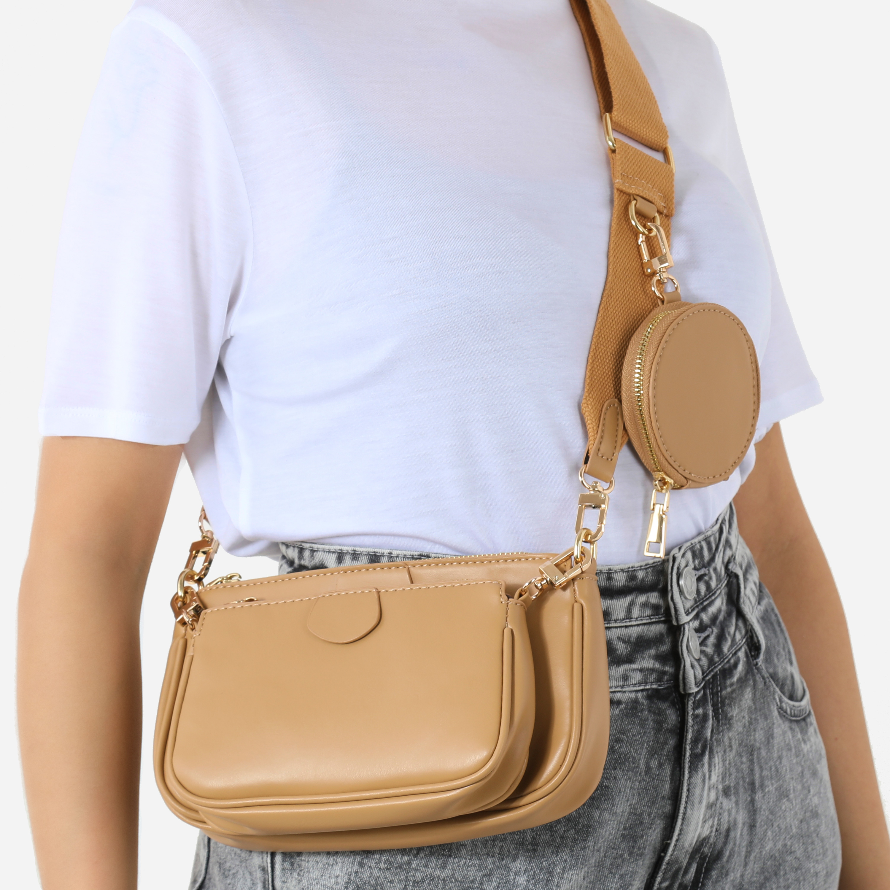 Chain & Purse Detail Cross Body Bag In Nude Faux Leather