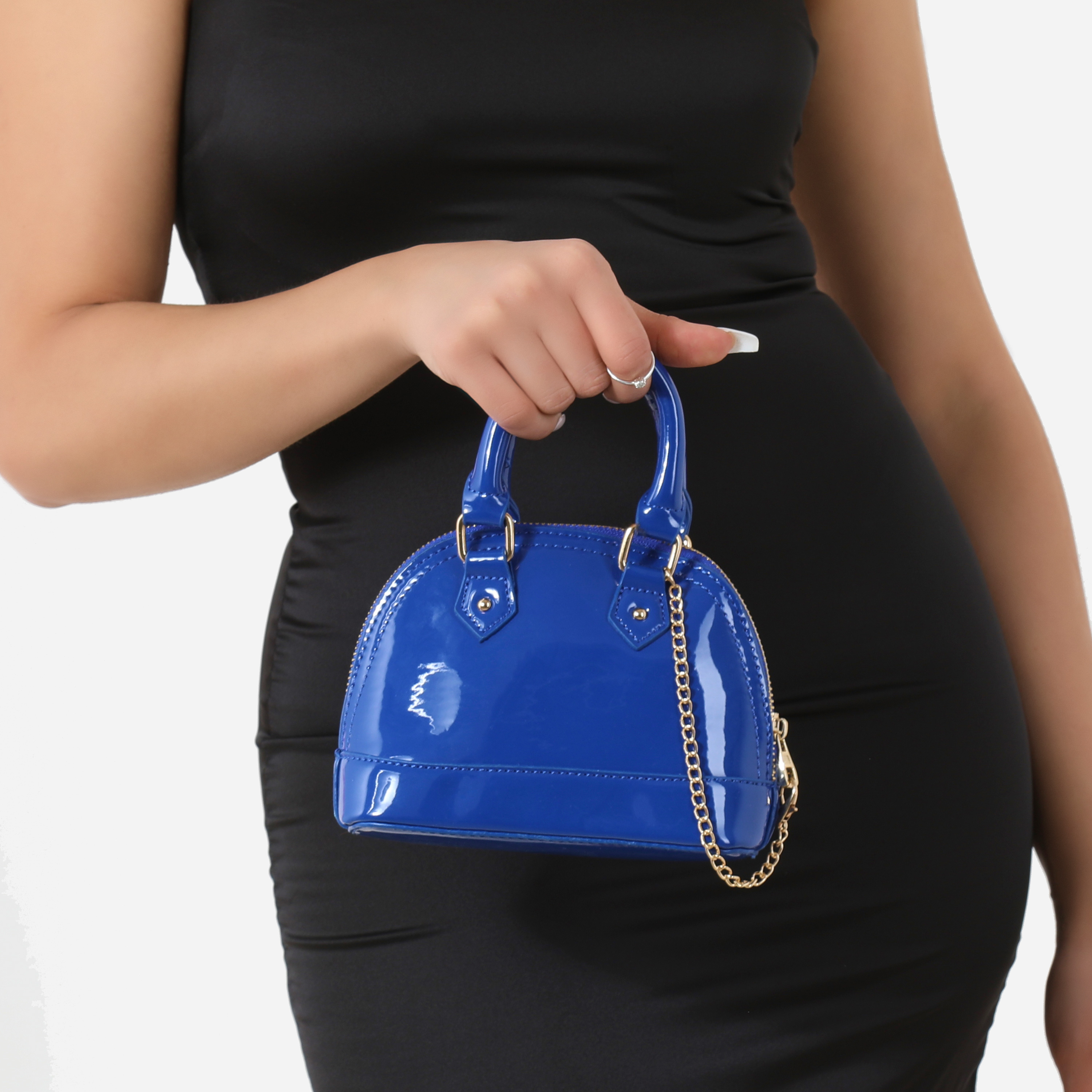 Chain Detail Grab Bag In Blue Patent