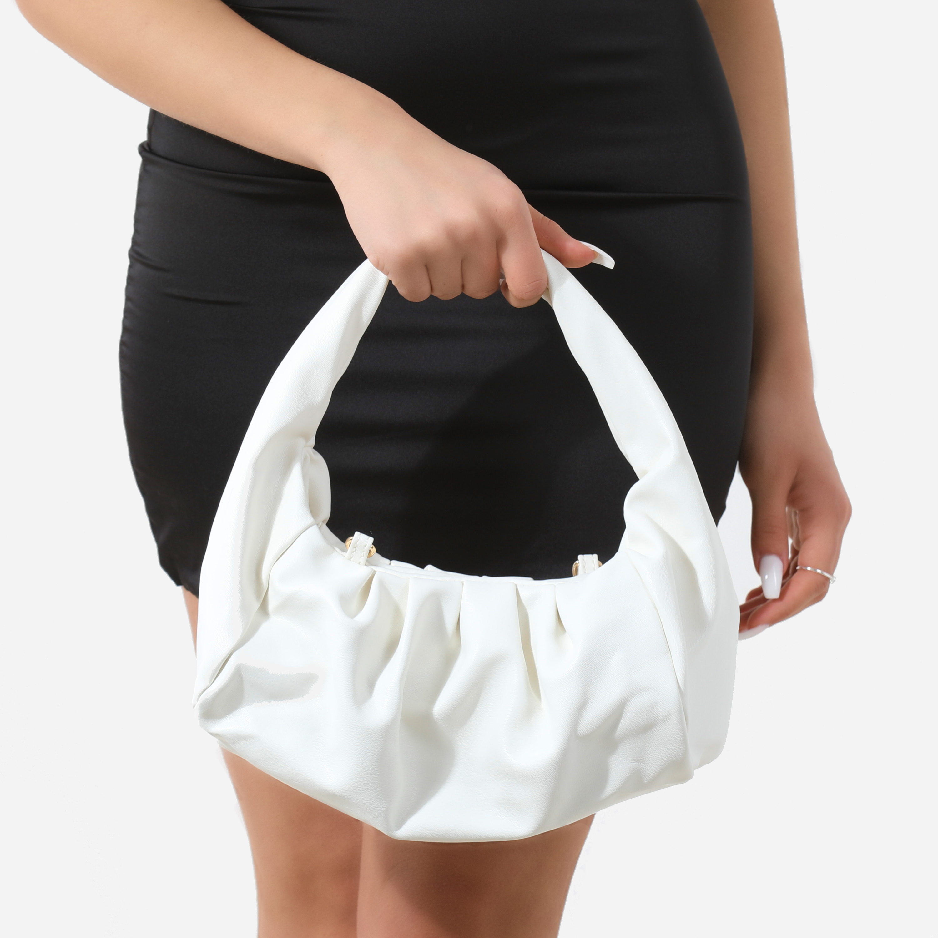 Ruched Shoulder Bag In White Faux Leather