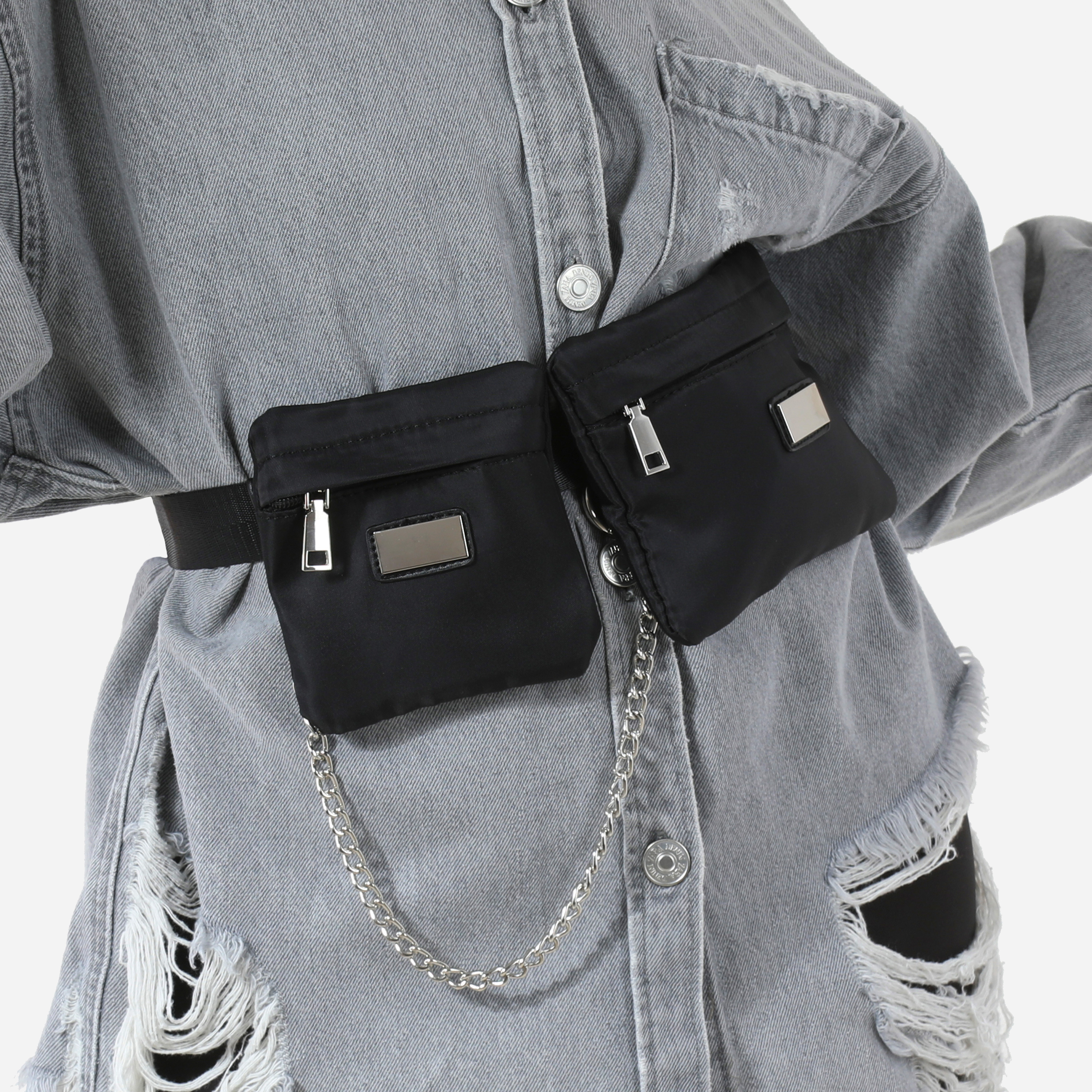 Chain Detail Utility Belt Bag In Black