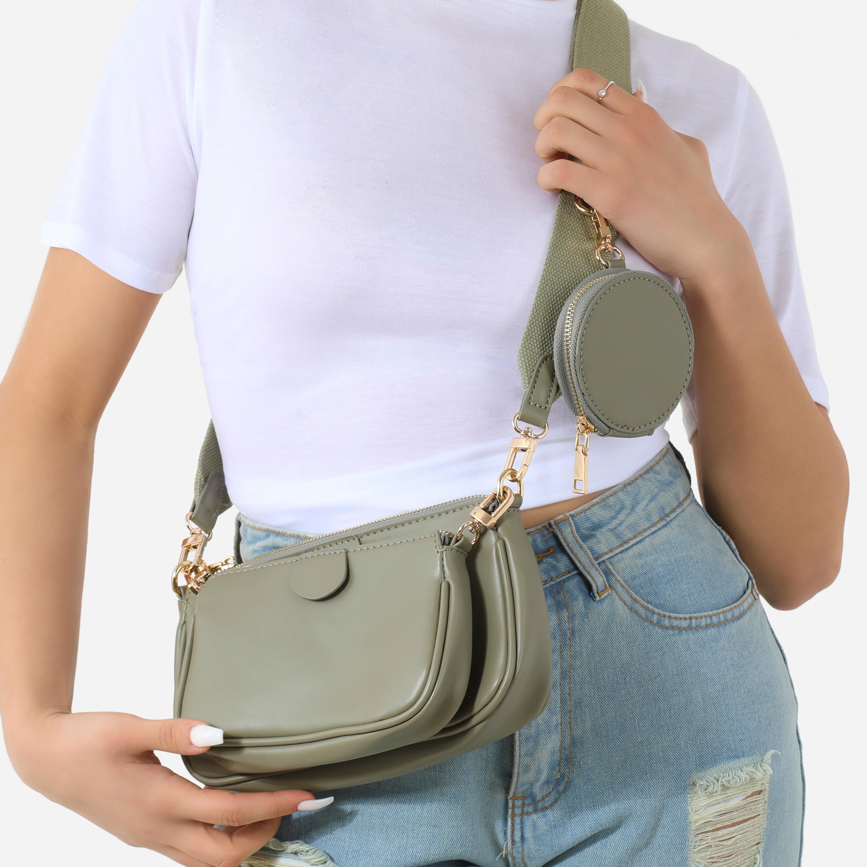 Chain & Purse Detail Cross Body Bag In Khaki Faux Leather