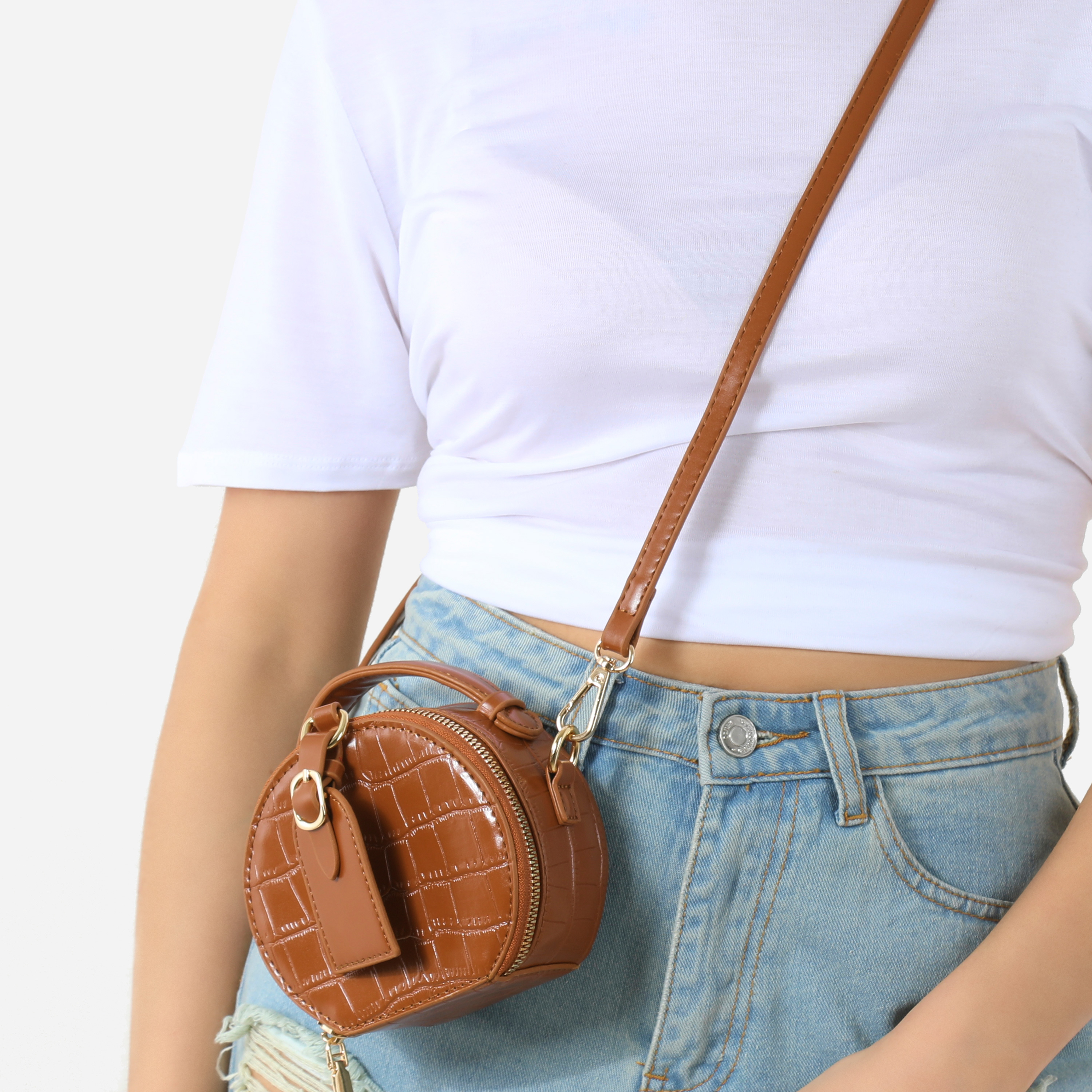 Buckle Detail Circle Cross Body Bag In Tan Faux Leather