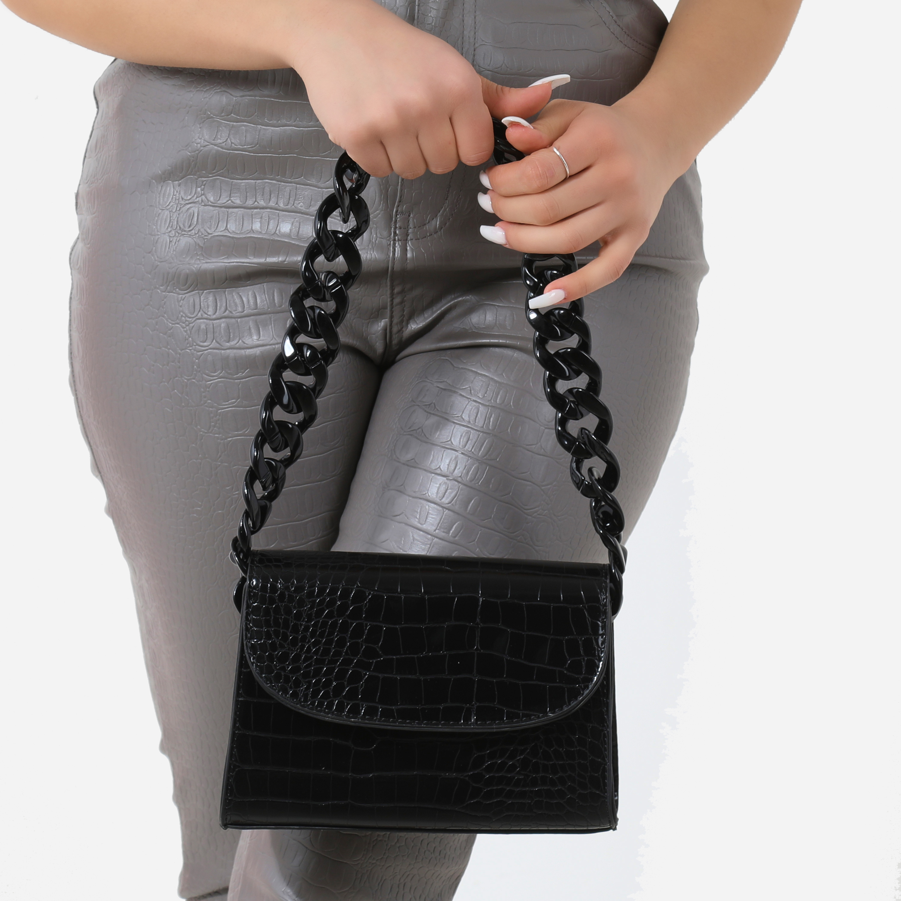 Black Chain Detail Boxy Handbag In Black Croc Faux Leather