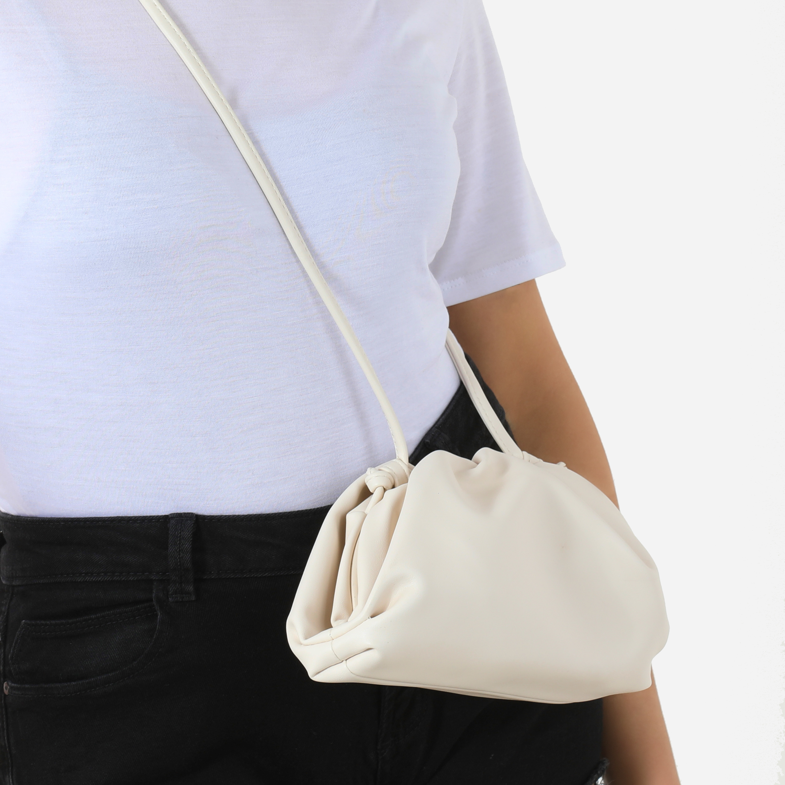 Gathered Detail Slouchy Clutch Bag In White Faux Leather