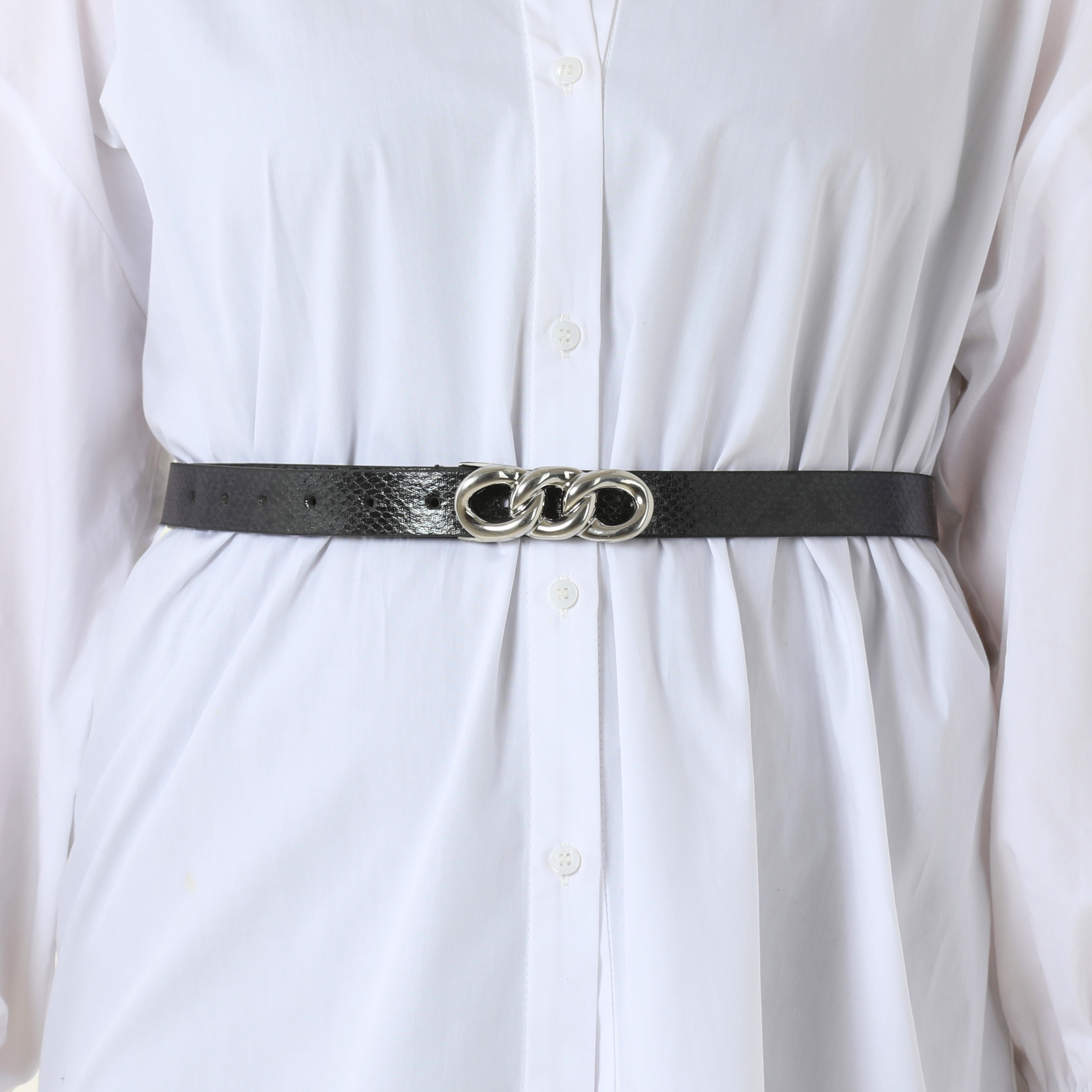 Silver Chain Detail Belt In Black Snake Print Faux Leather