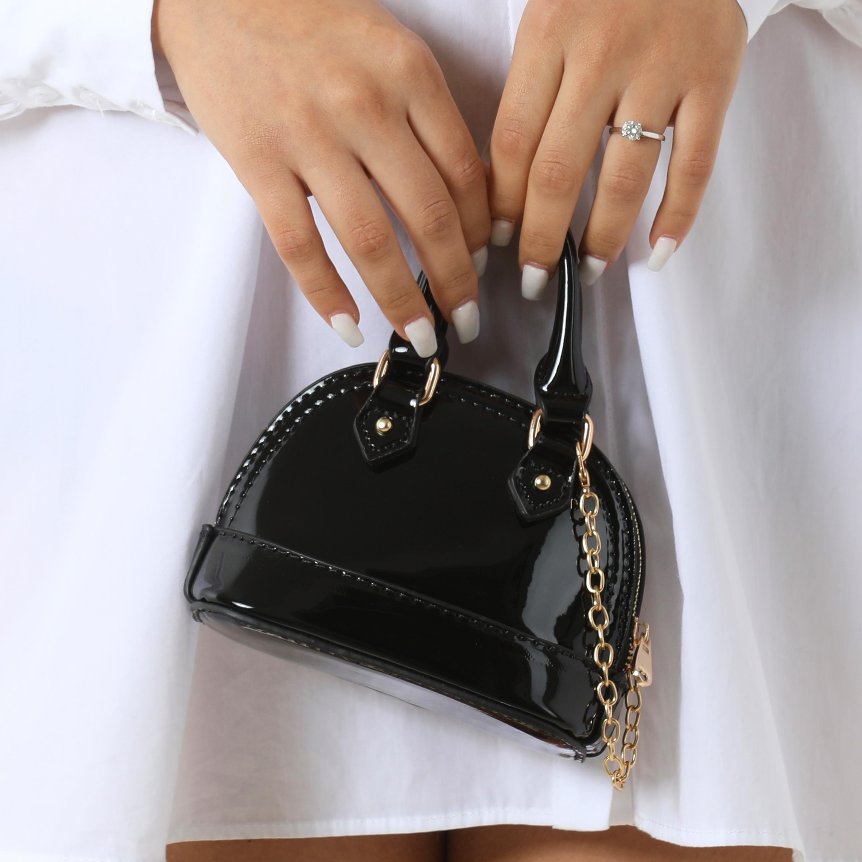 Micro Chain Detail Grab Bag In Black Patent