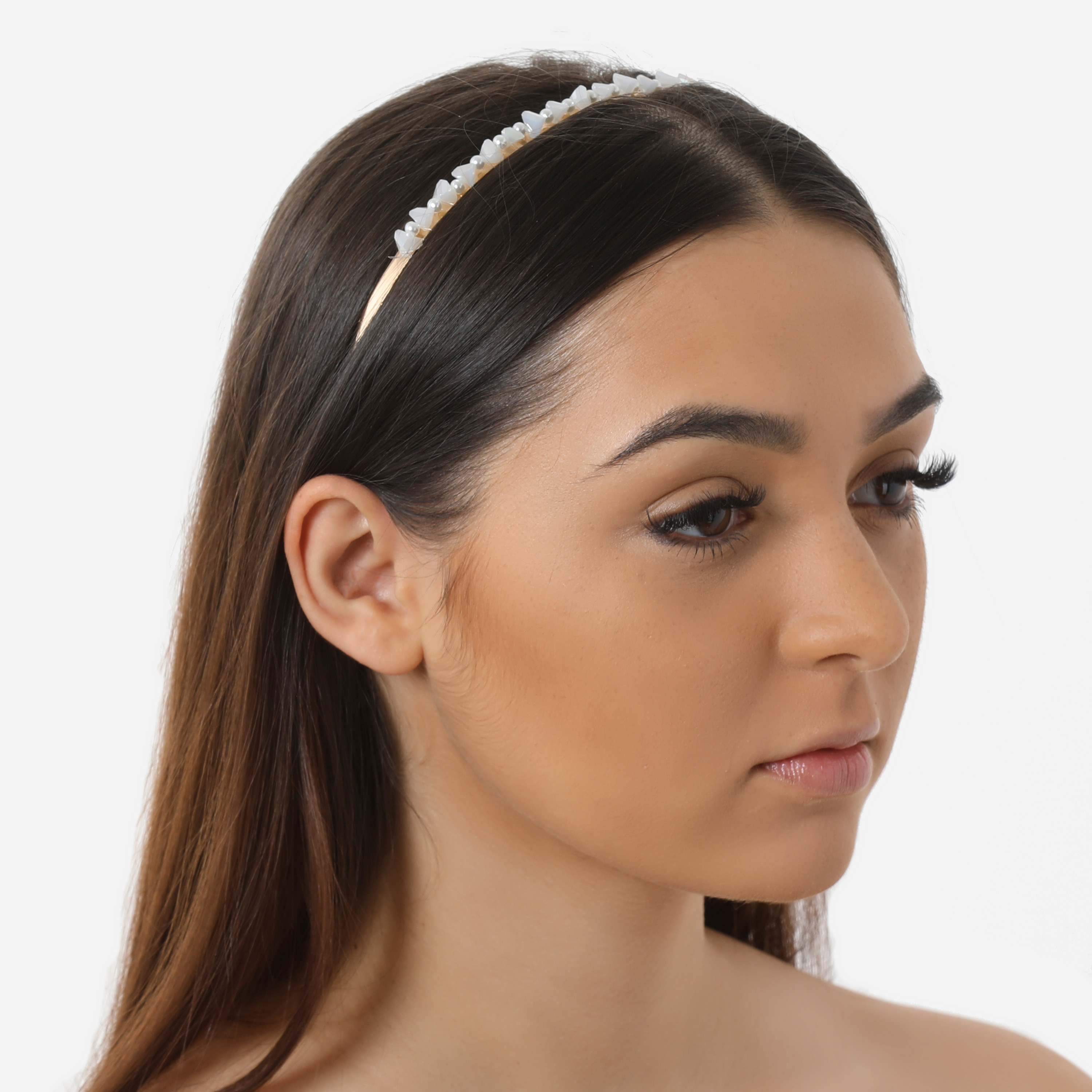 Stone Detail Headband In Gold
