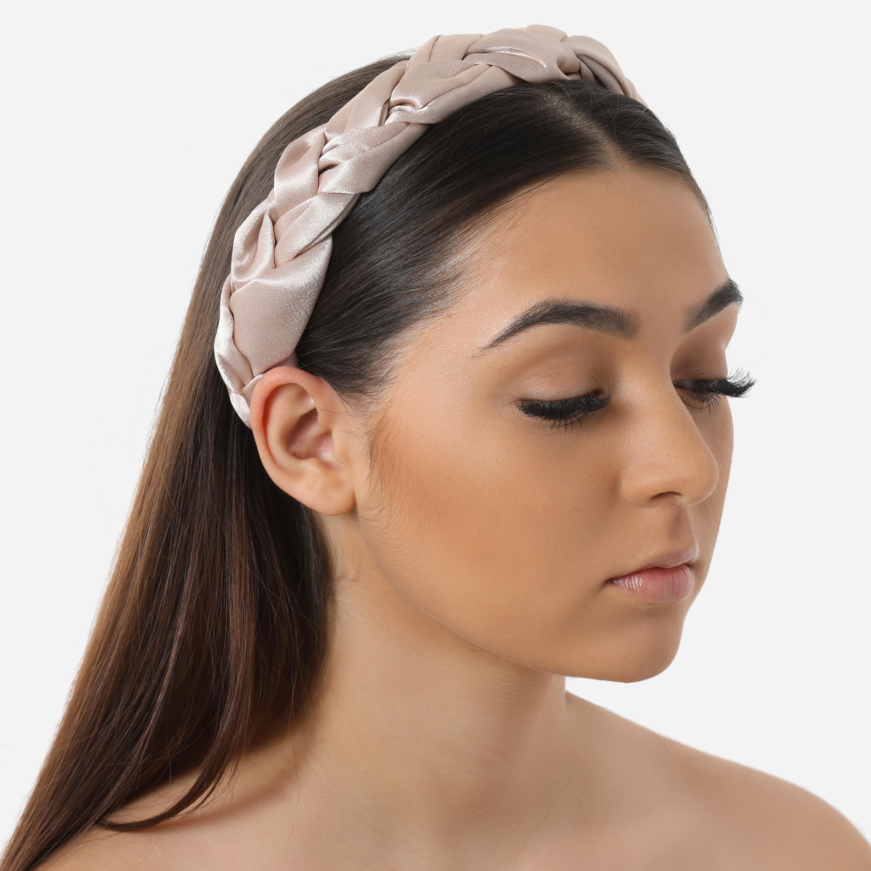 Braided Oversized Headband In Nude Satin