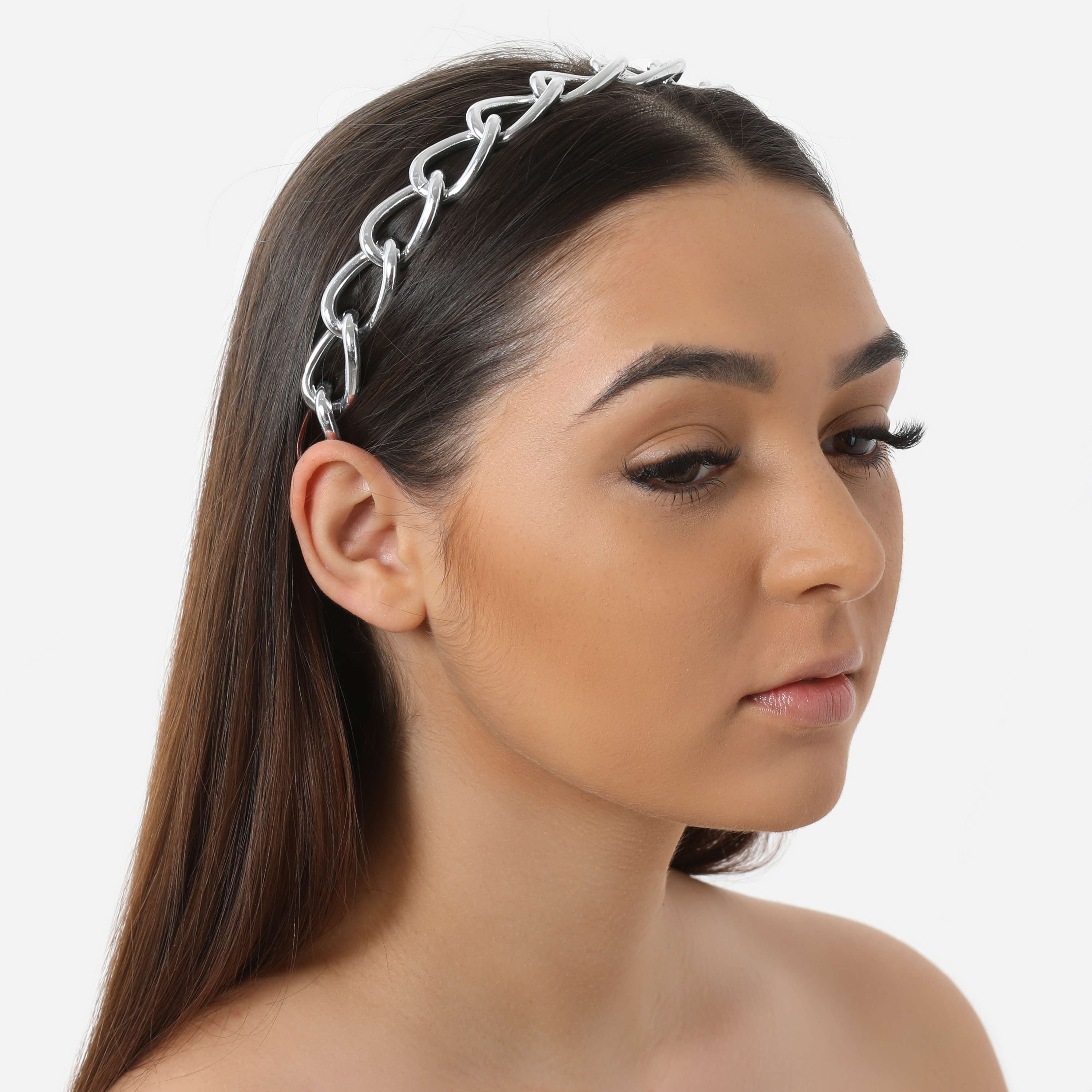 Oversized Chain Detail Headband In Silver