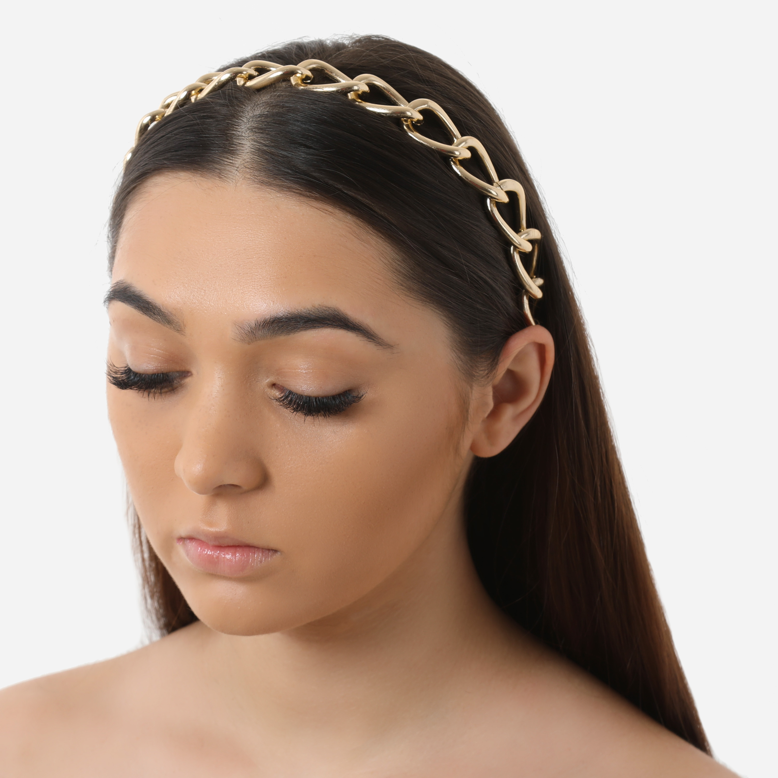 Oversized Chain Detail Headband In Gold