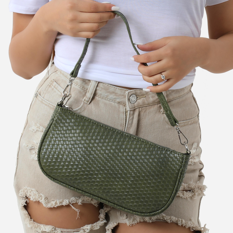 Woven Baguette Shoulder Bag In Khaki Faux Leather
