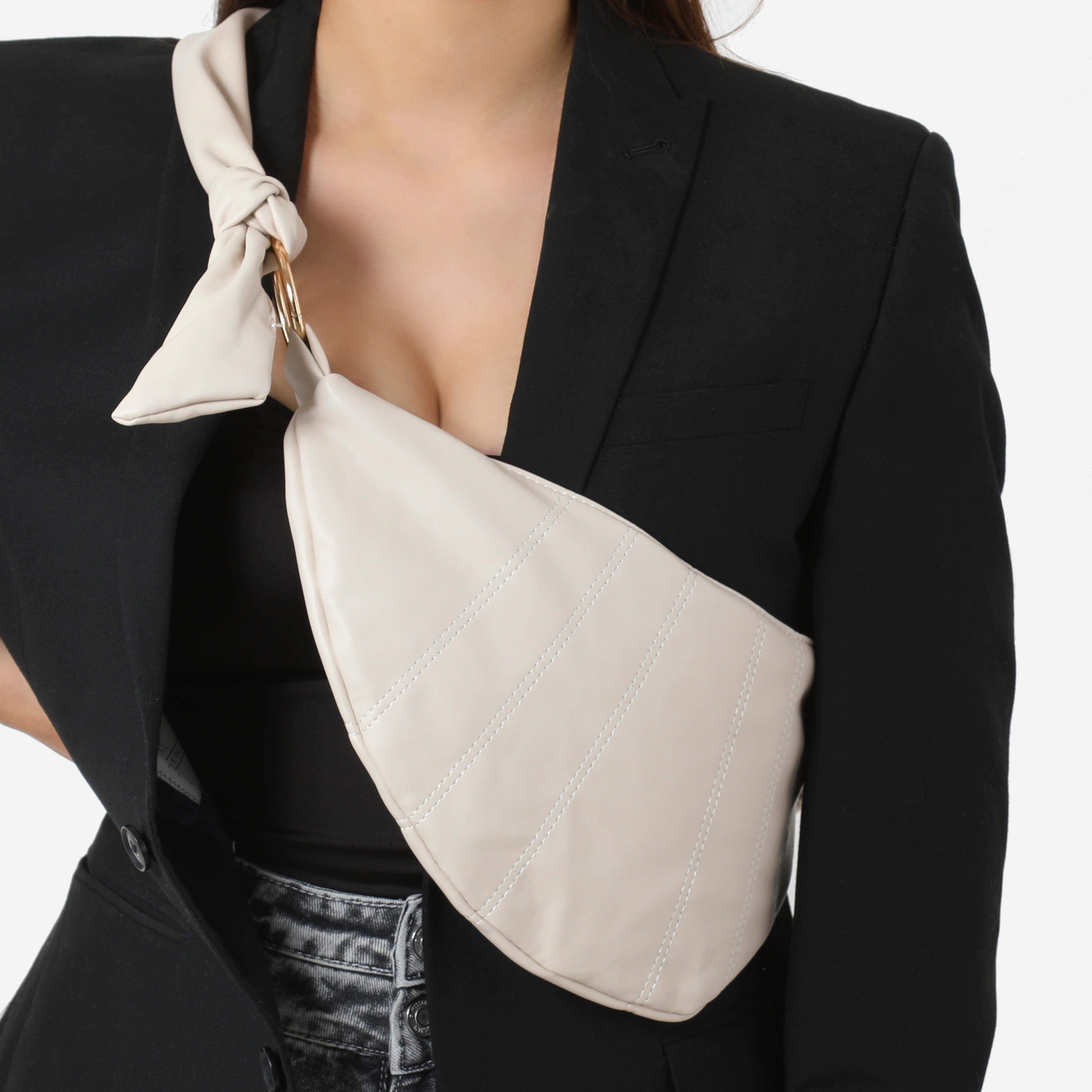 Knotted Detail Shoulder Bag In Nude Faux Leather