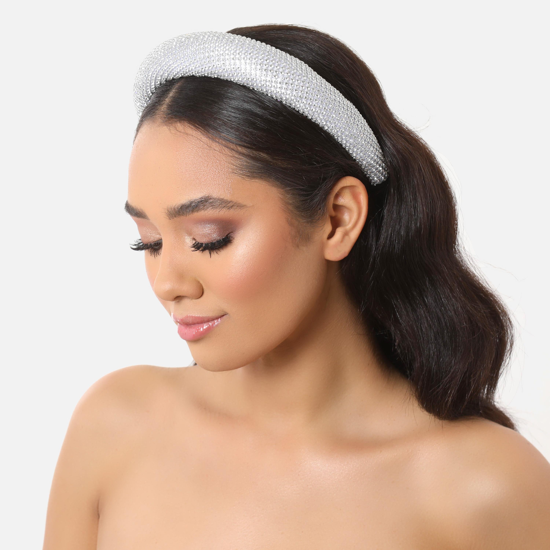 Diamante Padded Headband In Silver
