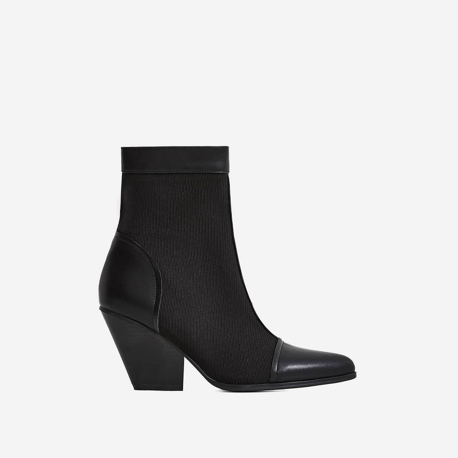 Racer Western Ankle Boot In Black Knit