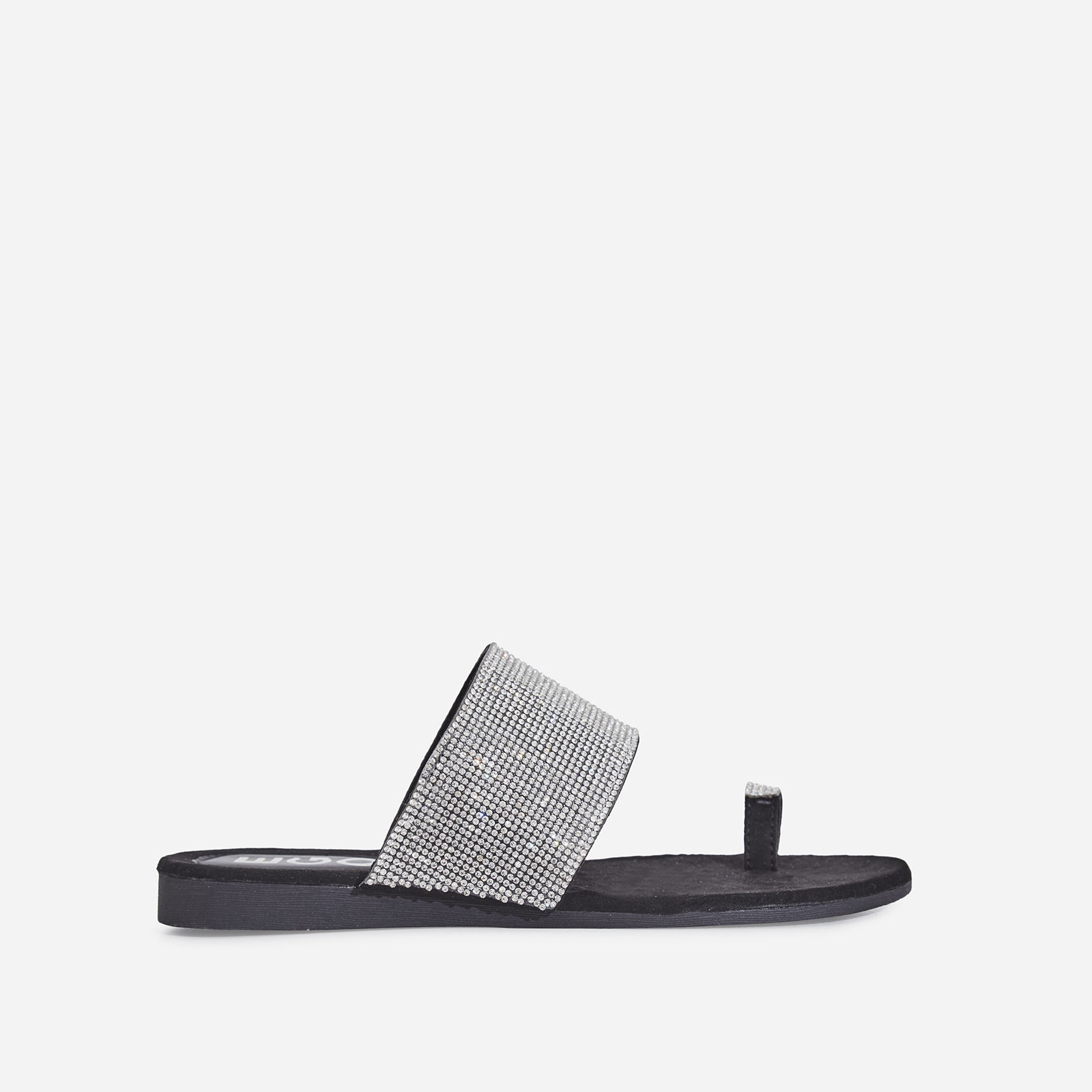 Jewel Diamante Detail Toe Strap Slider In Black Faux Suede
