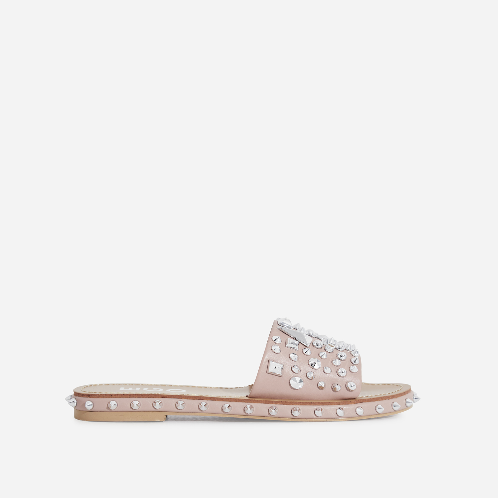 Toni Studded Detail Slider In Nude Faux Leather