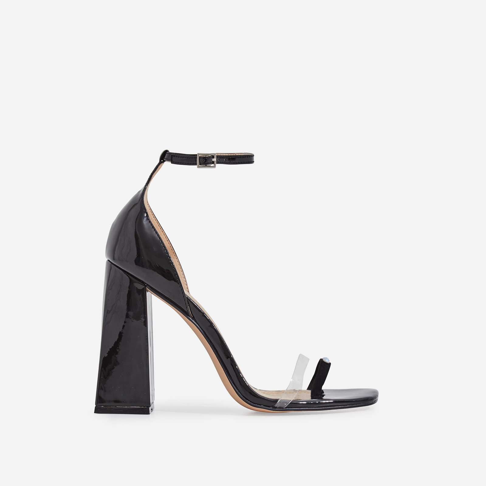 Perch Diamante Detail Strap Square Toe Perspex Flared Block Heel In Black Patent